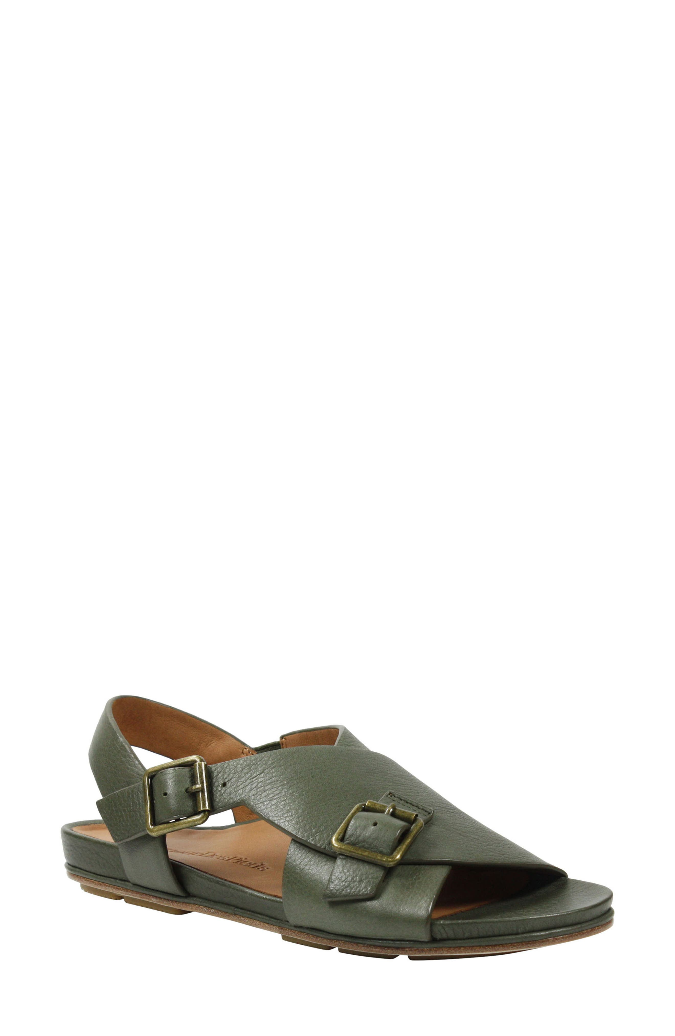 Dordogne Sandal,                             Main thumbnail 1, color,                             Olive Leather
