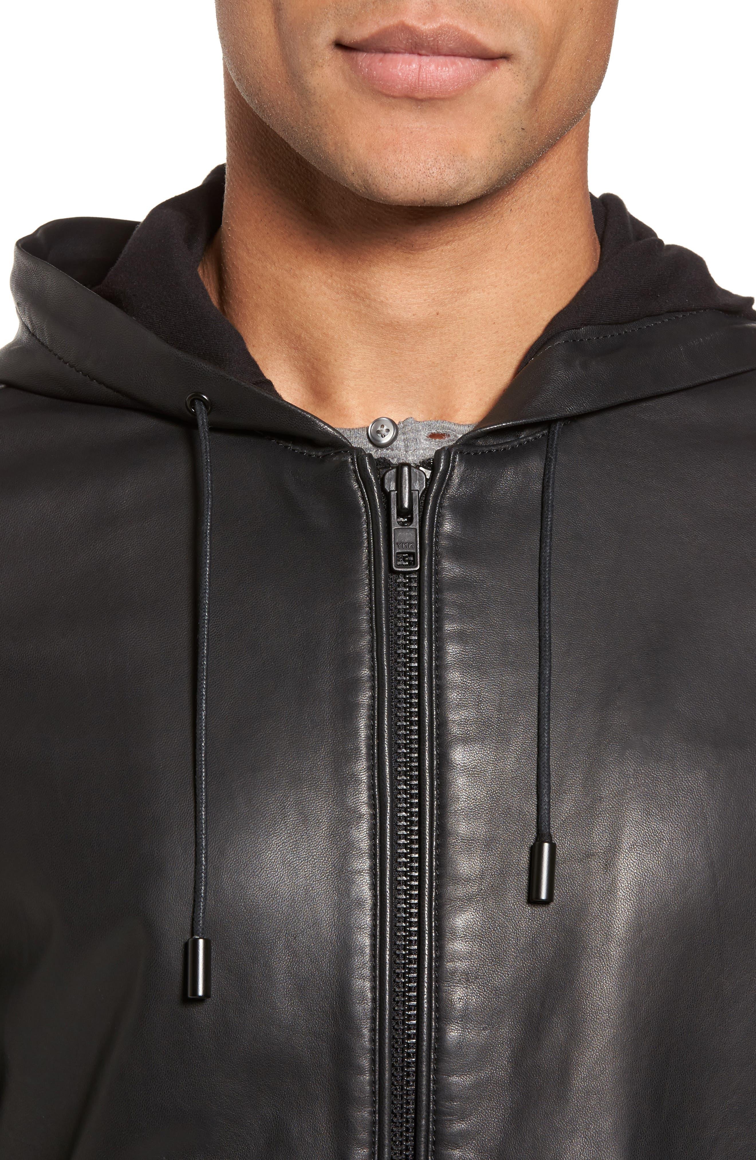 Hooded Leather Jacket,                             Alternate thumbnail 4, color,                             Black