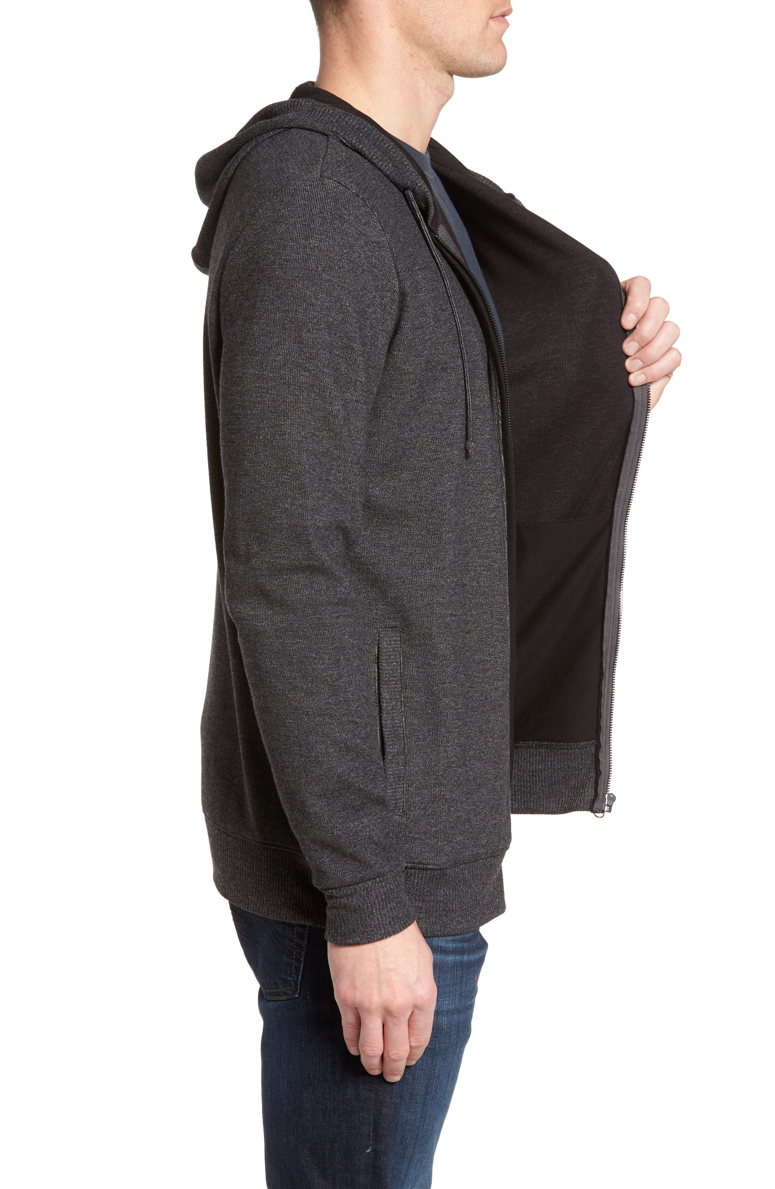 Snare Zip Front Hooded Cardigan,                             Alternate thumbnail 3, color,                             Black