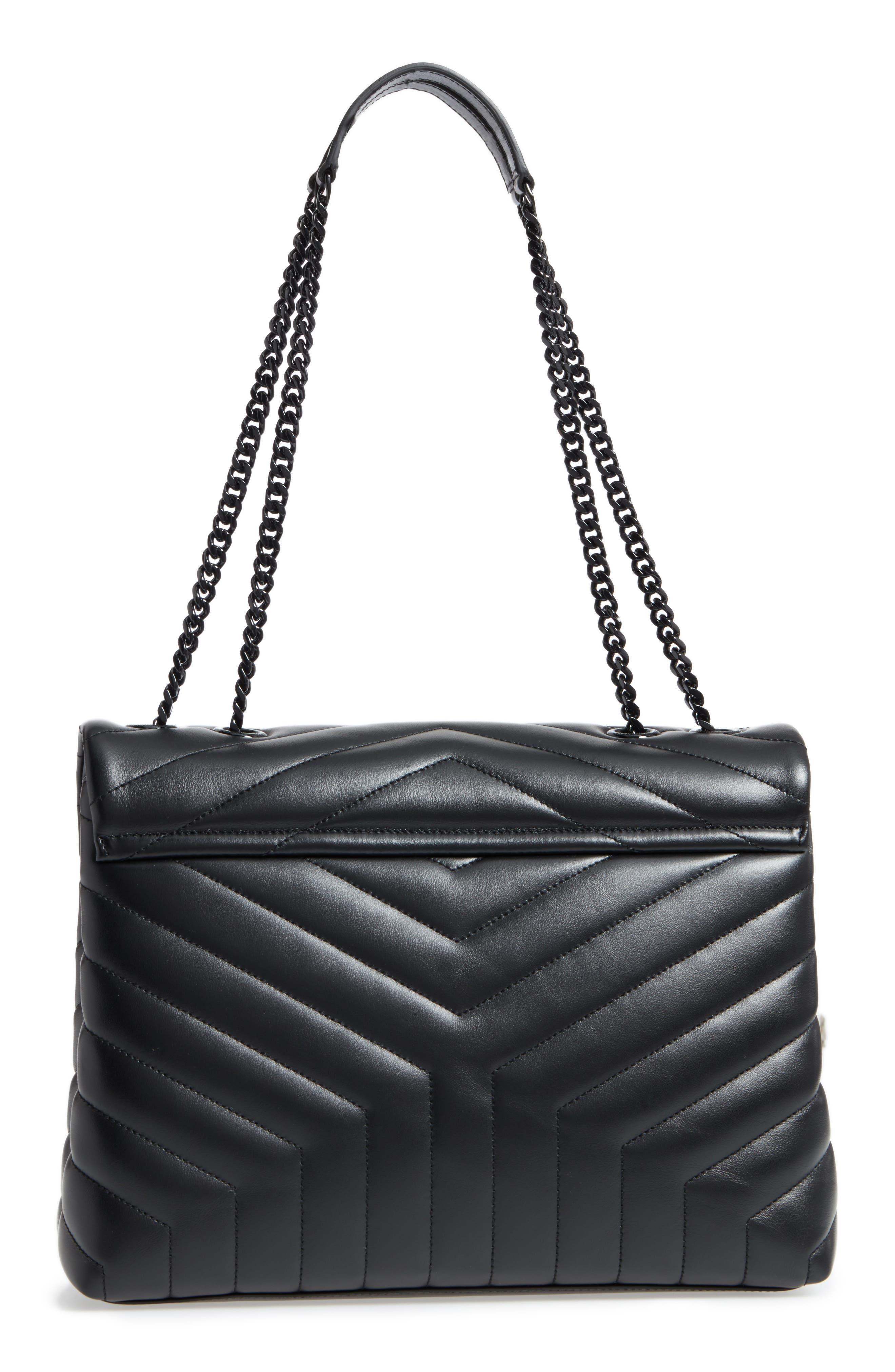 Medium Loulou Matelassé Leather Shoulder Bag,                             Alternate thumbnail 3, color,                             Noir