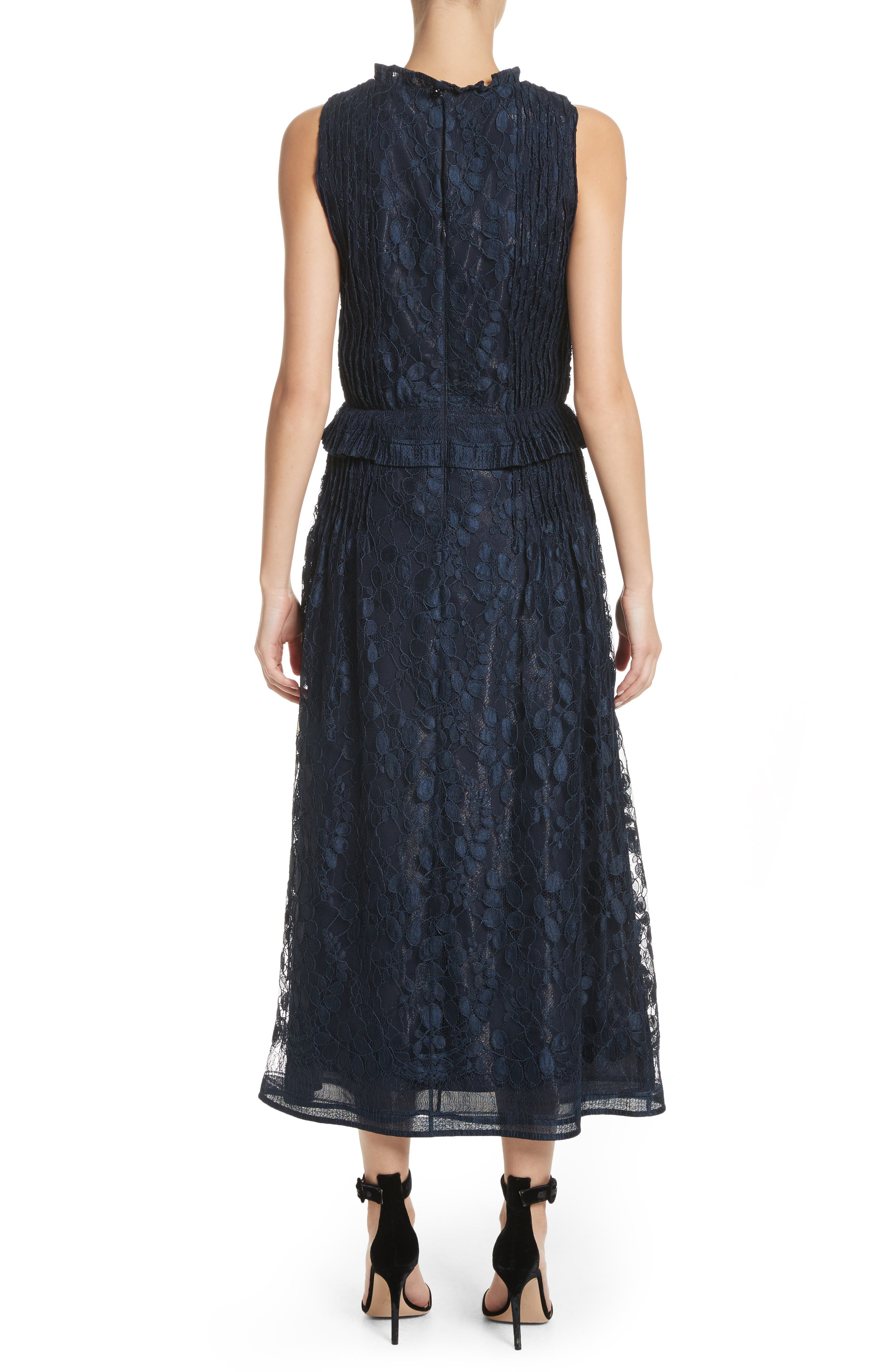 Abstract Leaf Lace midi Dress,                             Alternate thumbnail 2, color,                             Navy