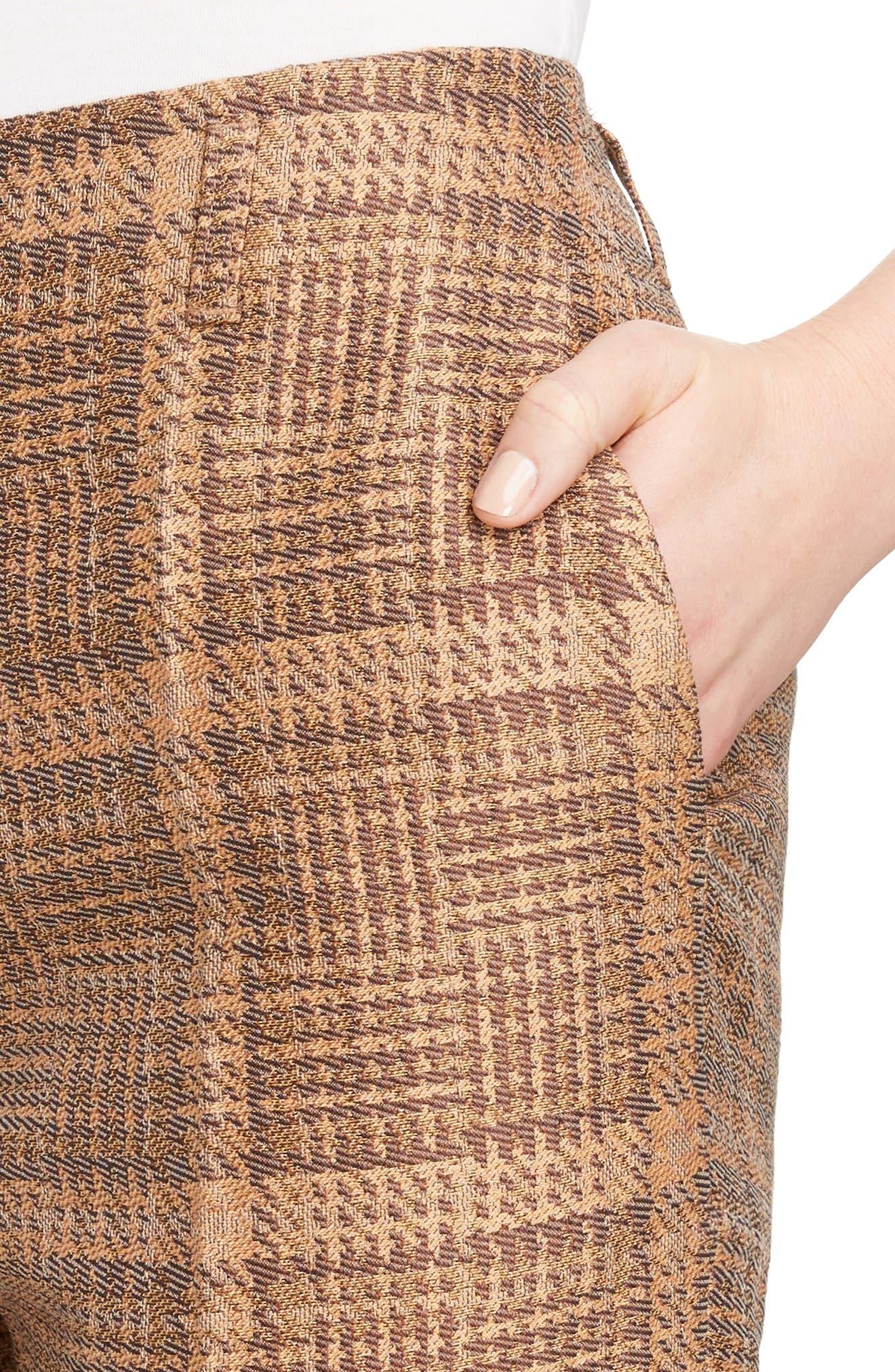 Tartan Slim Crop Pants,                             Alternate thumbnail 4, color,                             Rust