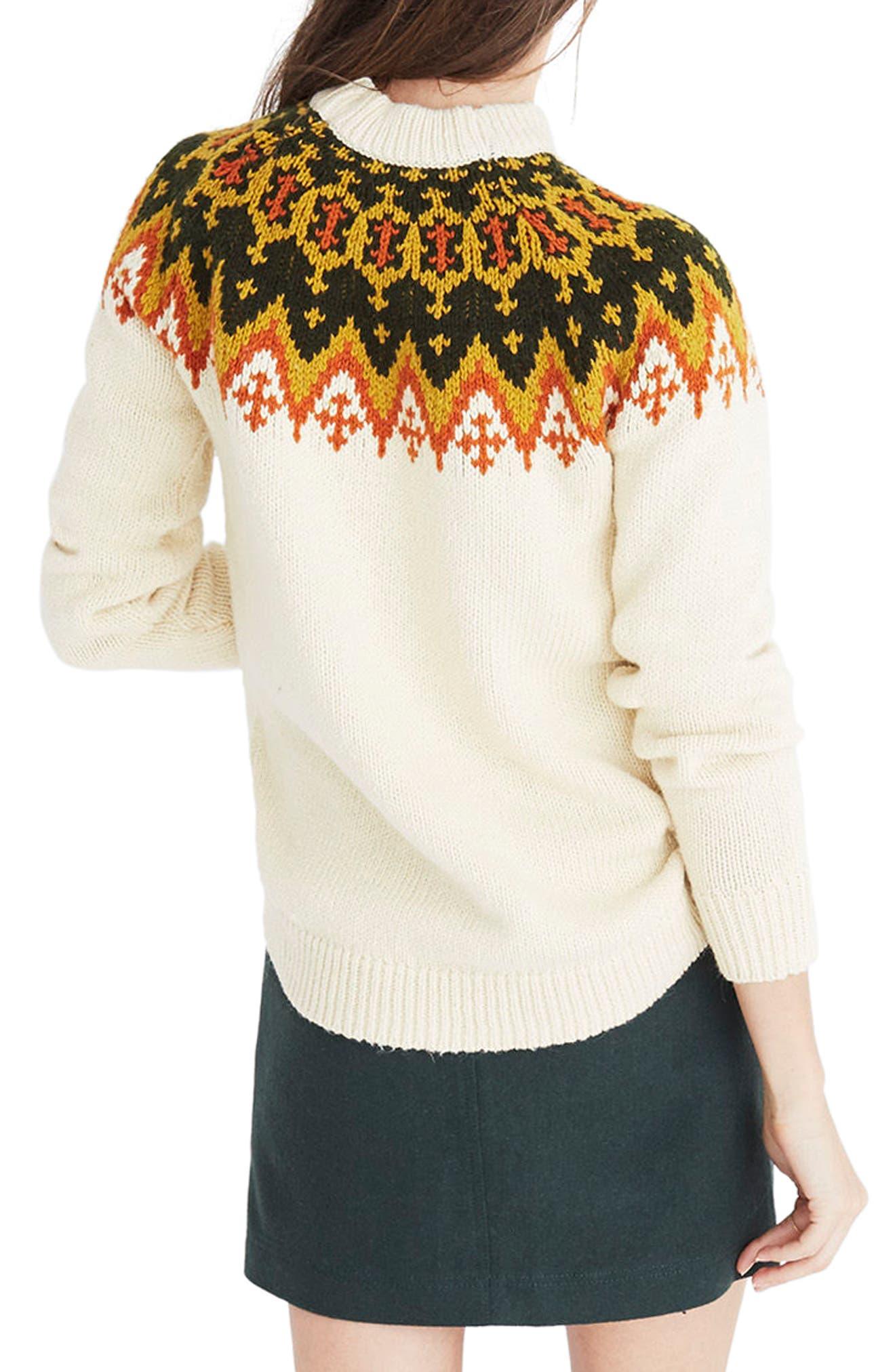 Fair Isle Sweater,                             Alternate thumbnail 2, color,                             Vintage Cream