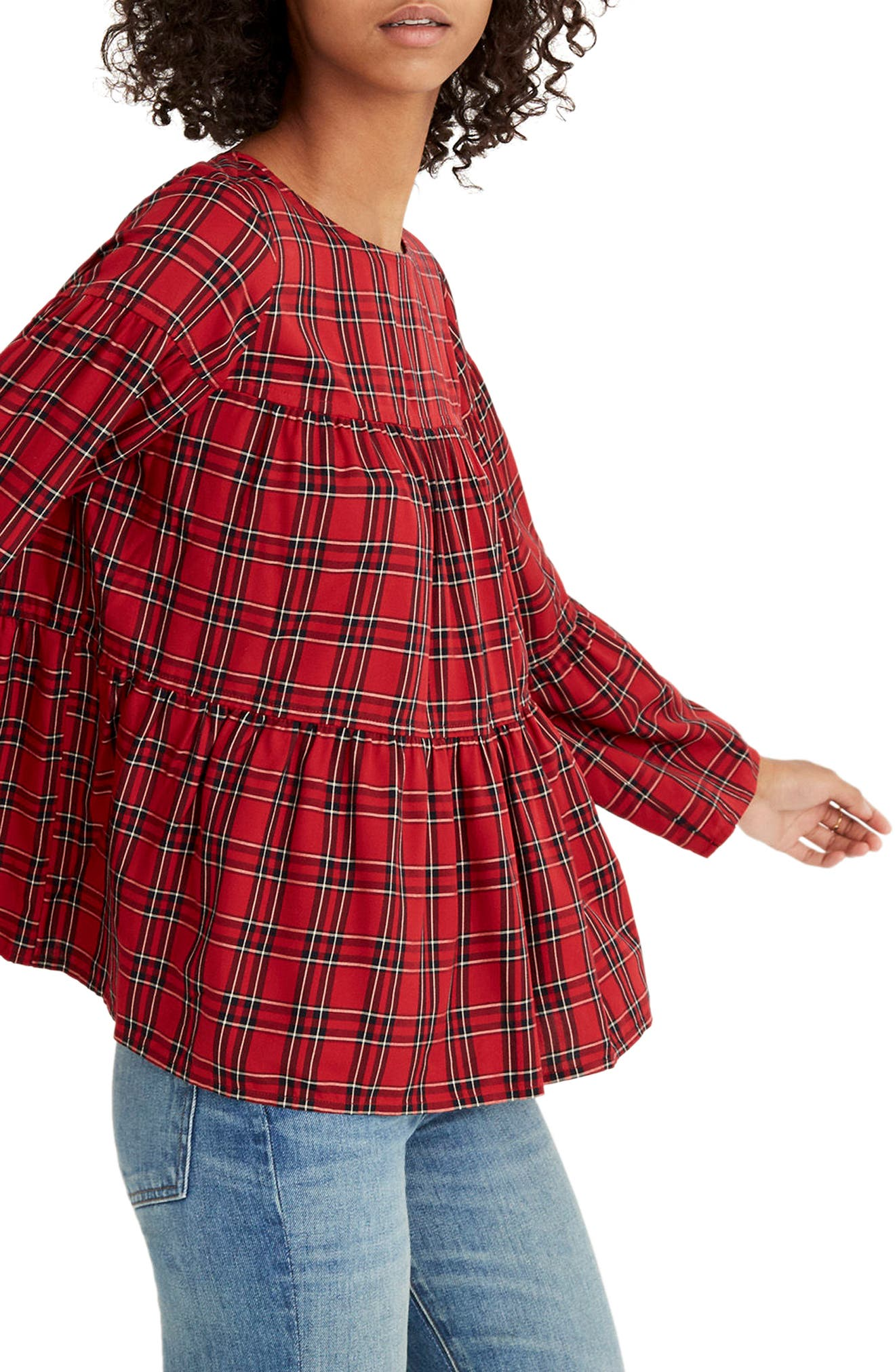 Plaid Tiered Button Back Top,                             Alternate thumbnail 3, color,                             True Red