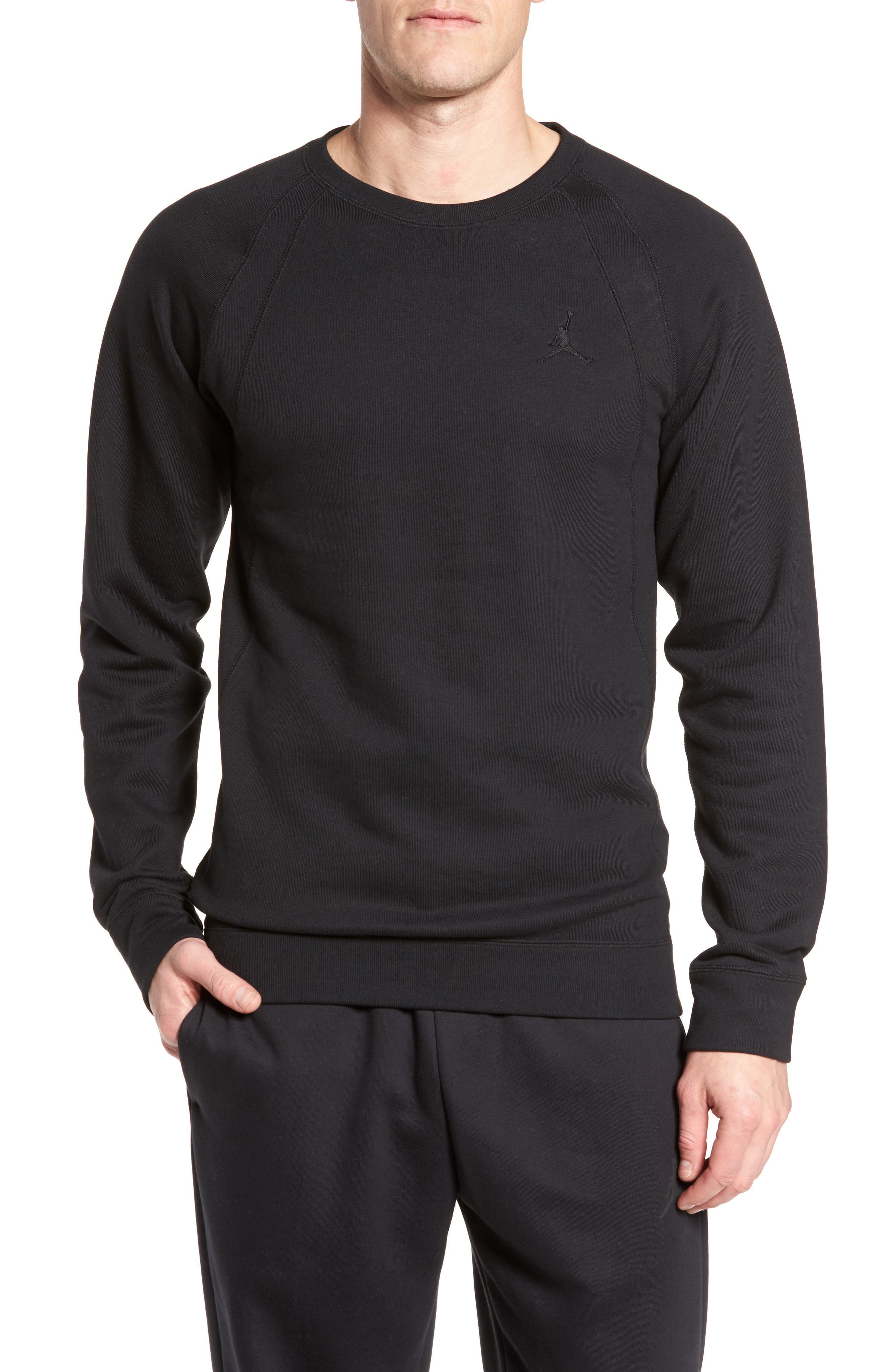 Jordan Sportswear Wings Pullover,                             Main thumbnail 1, color,                             Black/ Black