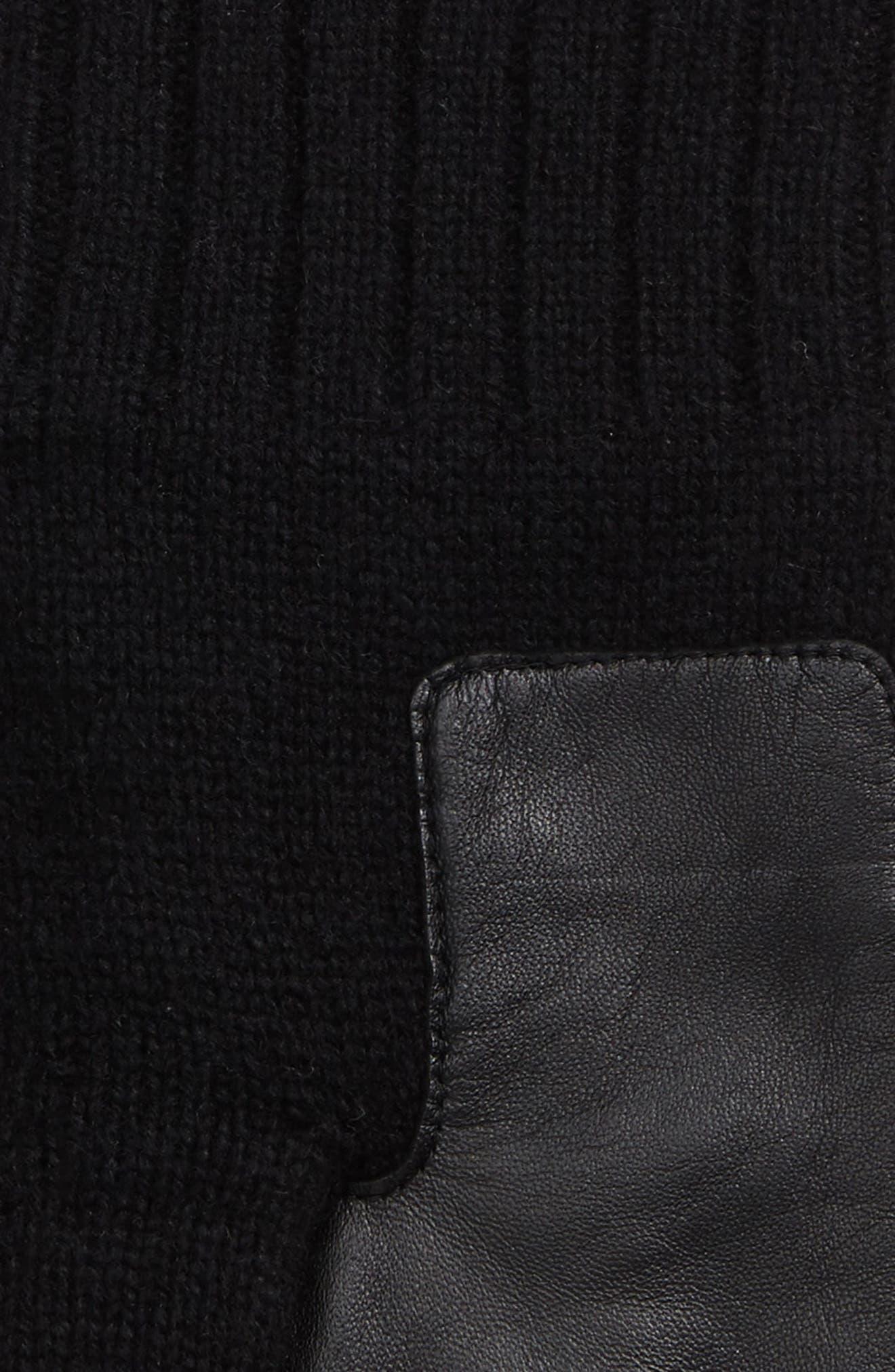 Smart Wool Blend Gloves,                             Alternate thumbnail 3, color,                             Black