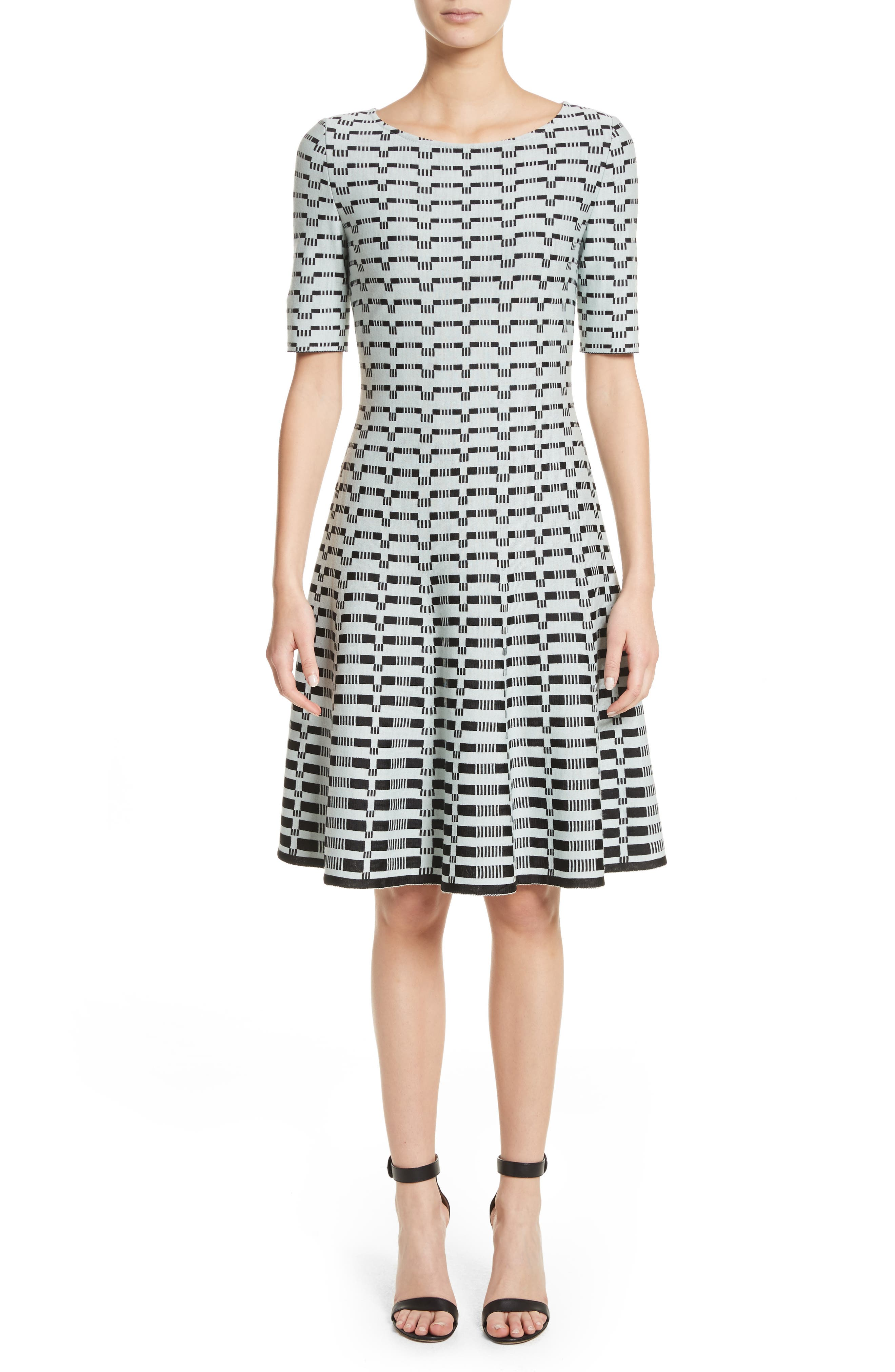 Grid Knit Fit & Flare Dress,                         Main,                         color, Mint/ Caviar