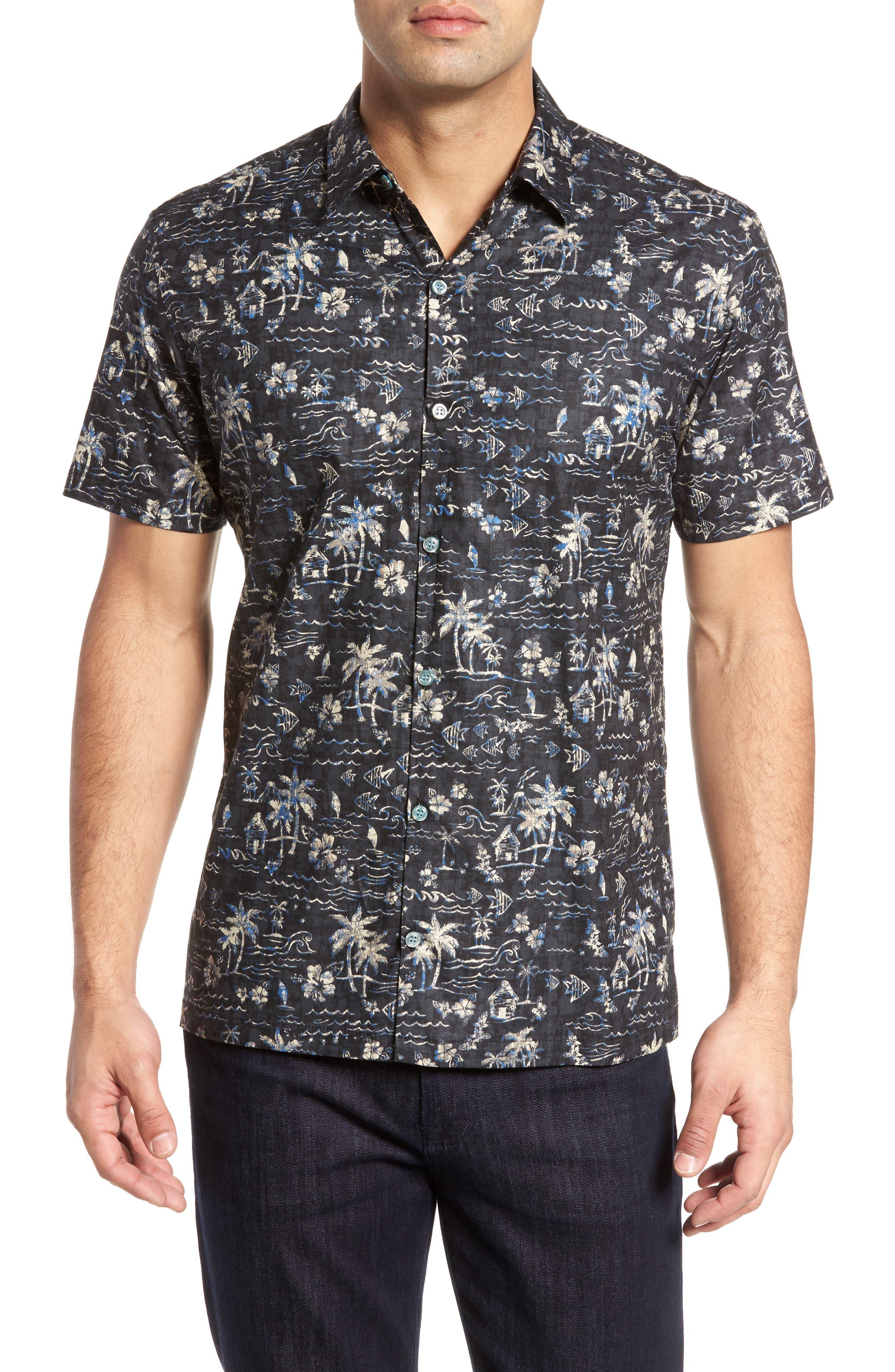 Smallville Regular Fit Print Sport Shirt,                         Main,                         color, Black
