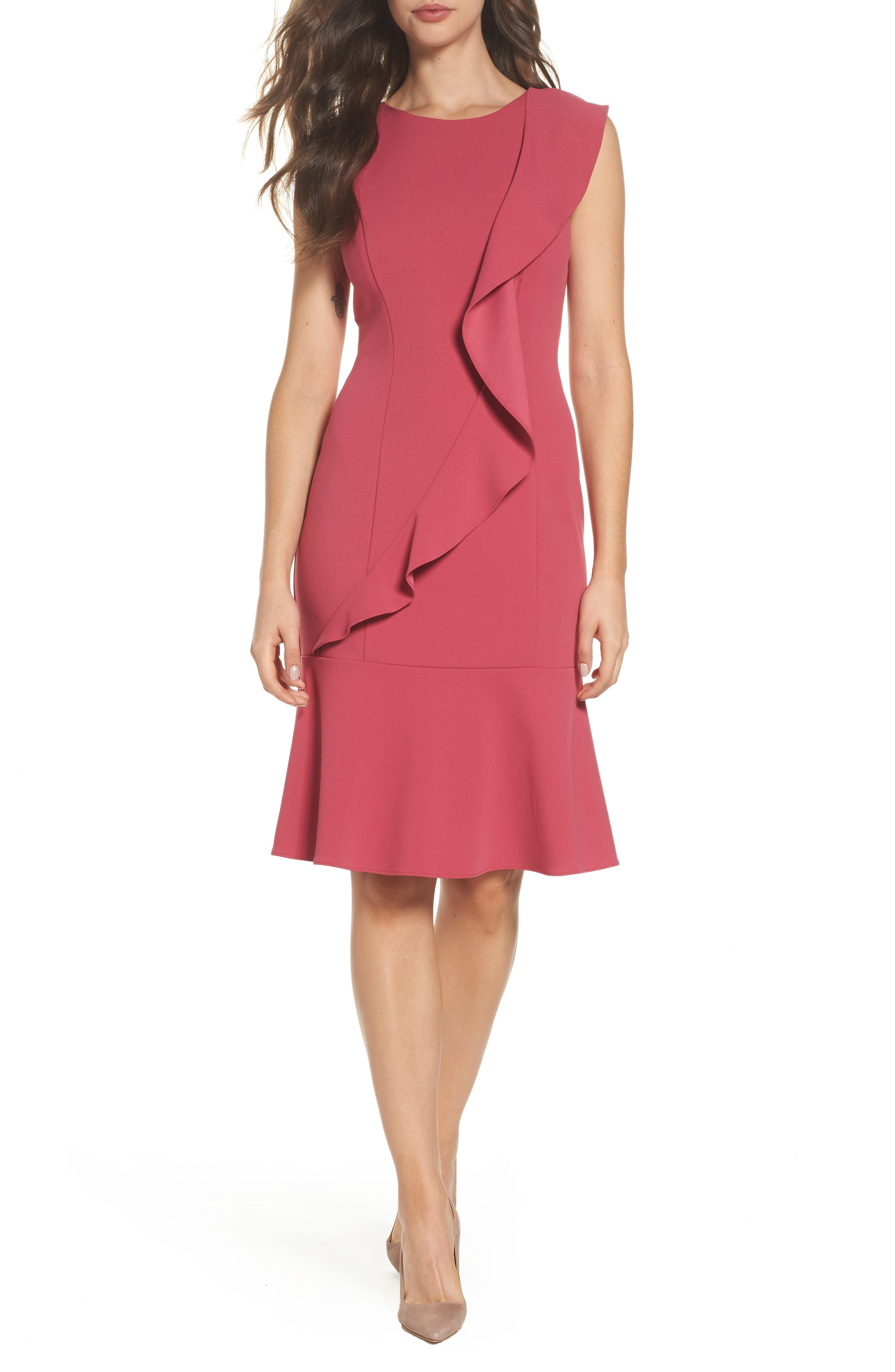 Ruffle Crepe Dress,                         Main,                         color, Faded Azalea