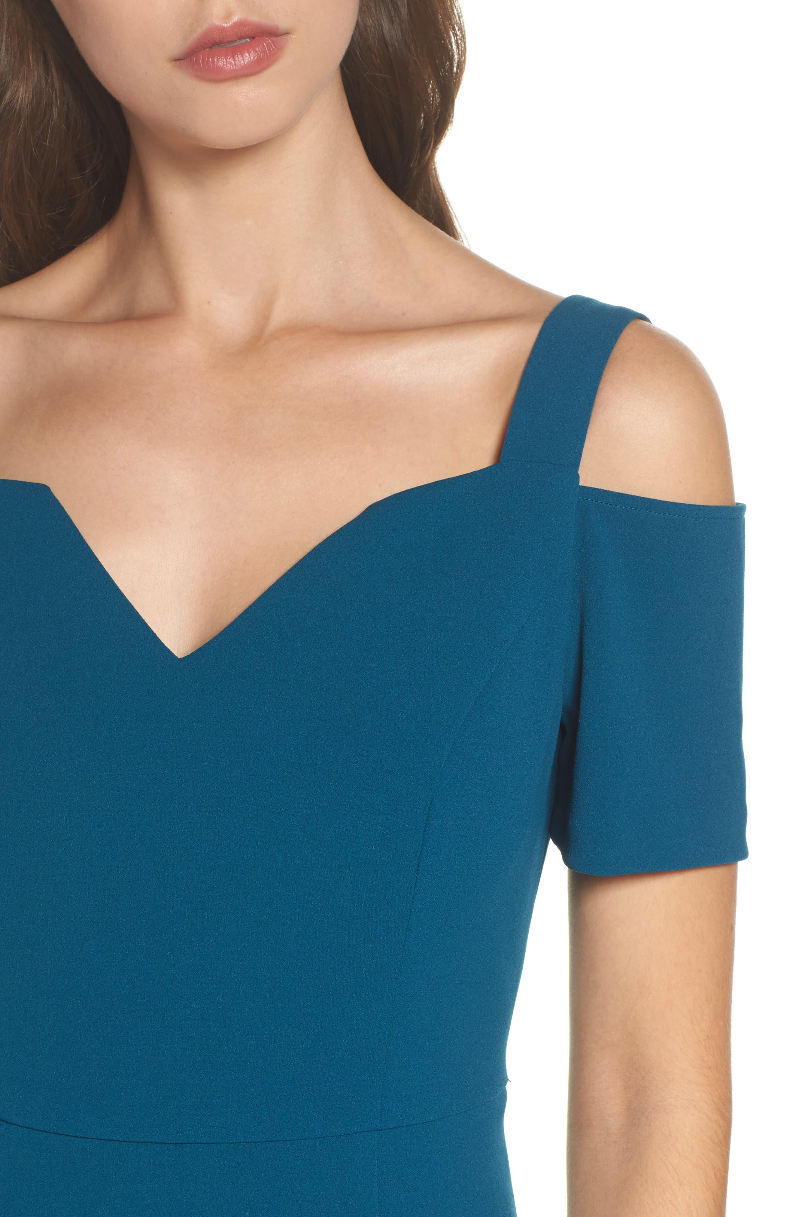 Cold Shoulder Crepe Dress,                             Alternate thumbnail 4, color,                             Deep Teal