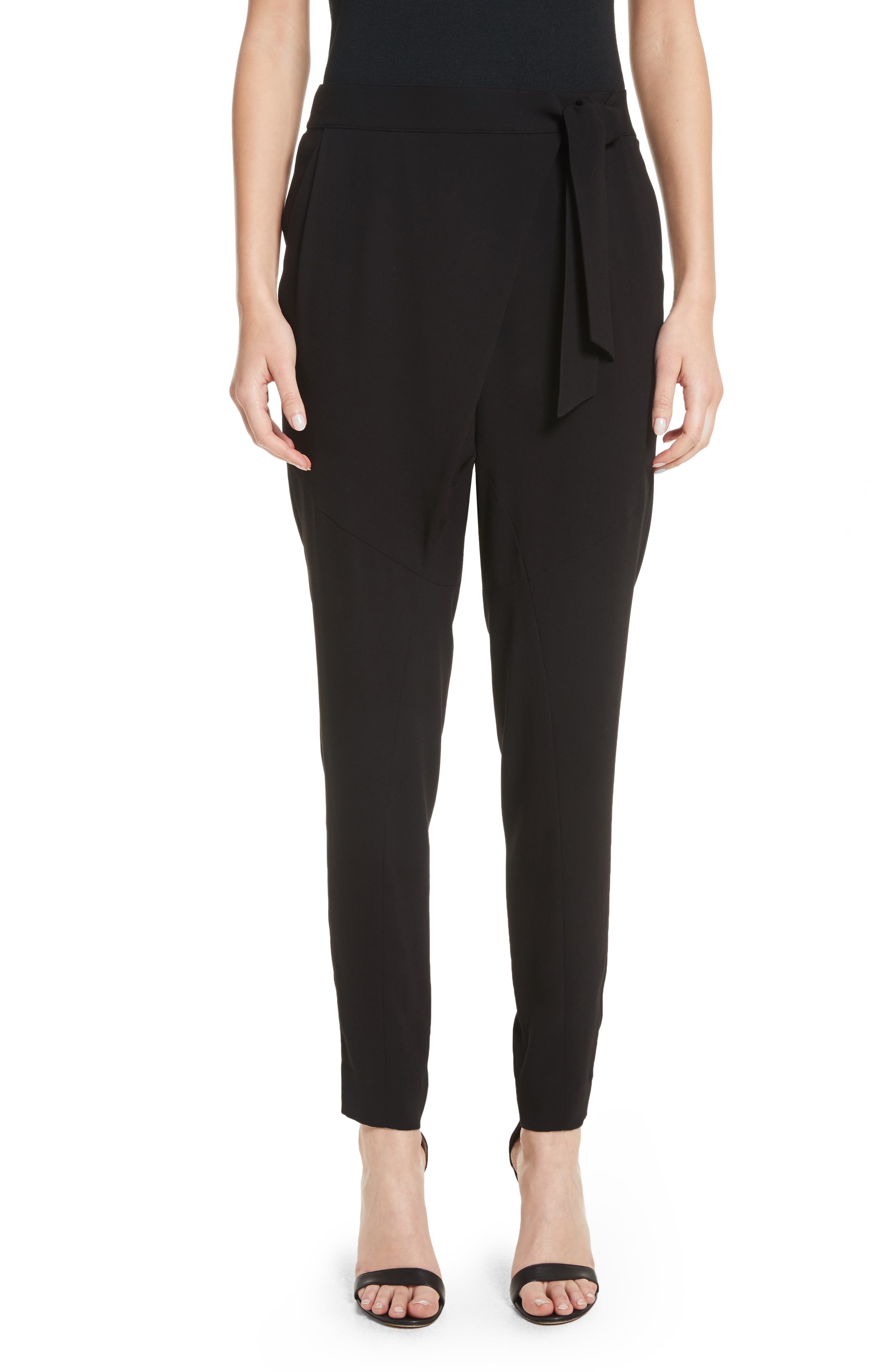 St. John Collection Satin Back Crepe Wrap Waist Pants