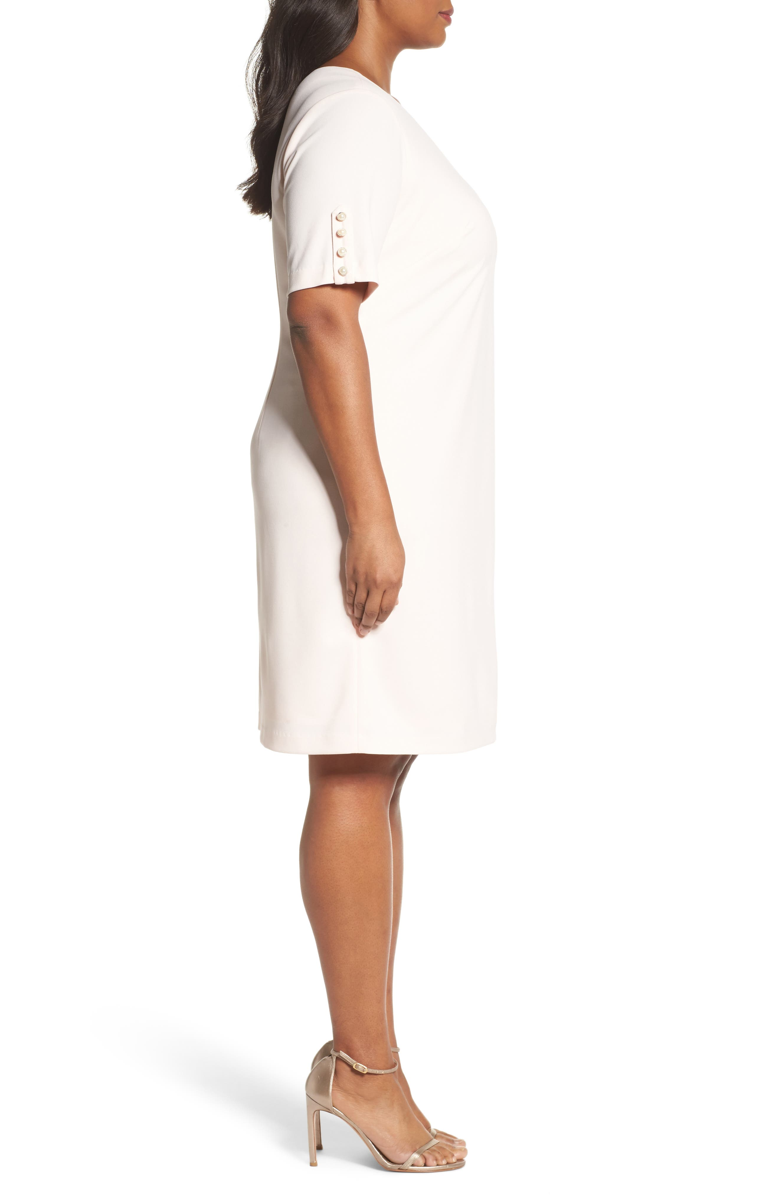 Alternate Image 3  - Adrianna Papell Button Sleeve Shift Dress (Plus Size)
