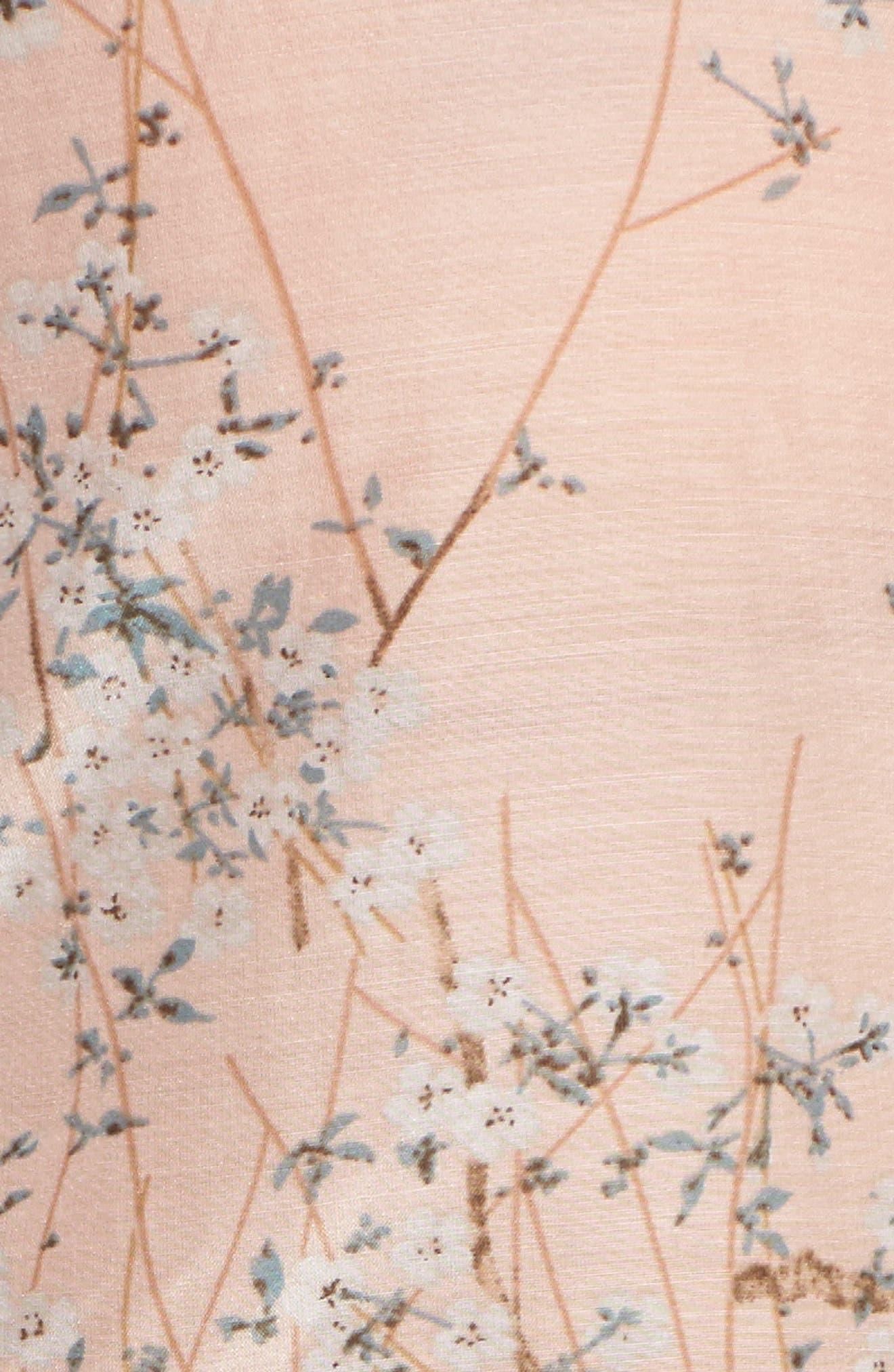 Cherry Blossom Cotton & Silk Crop Pajamas,                             Alternate thumbnail 6, color,                             Pink