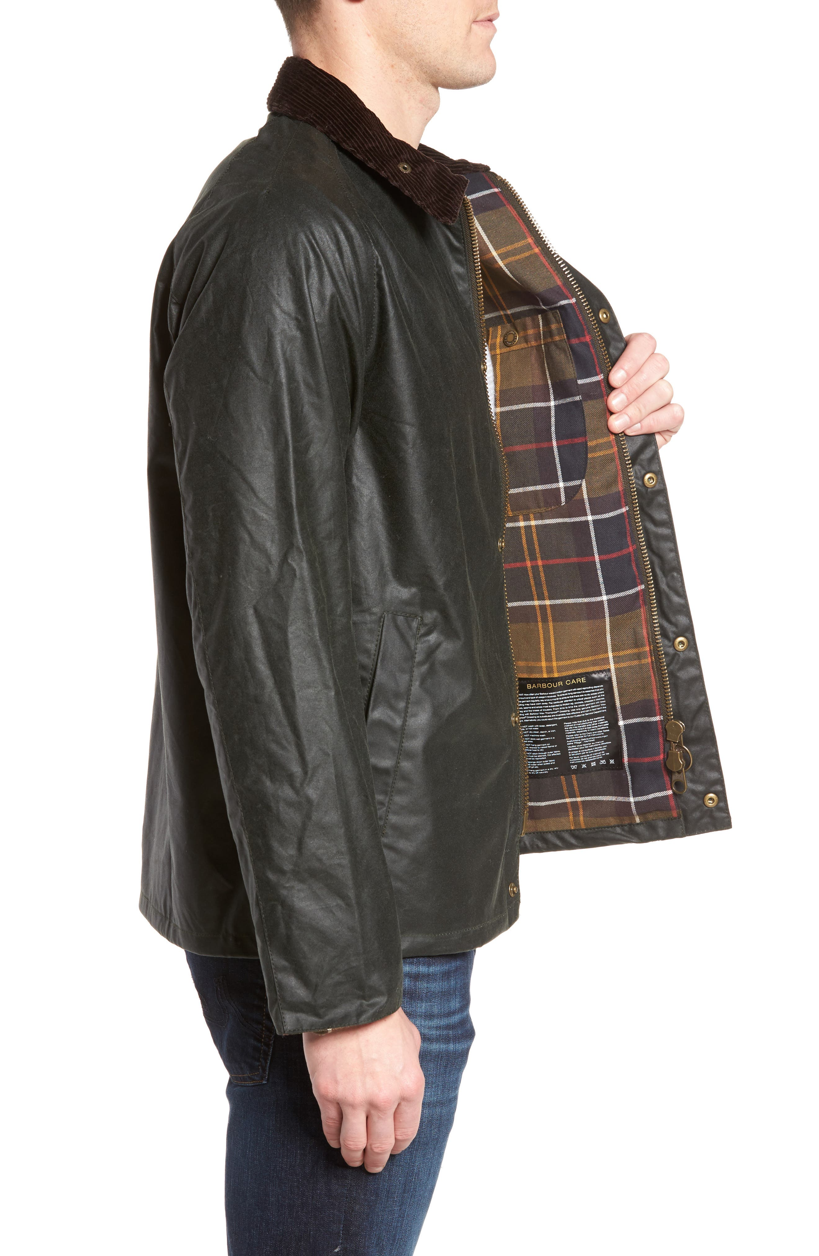 Heskin Waxed Cotton Jacket,                             Alternate thumbnail 3, color,                             Sage