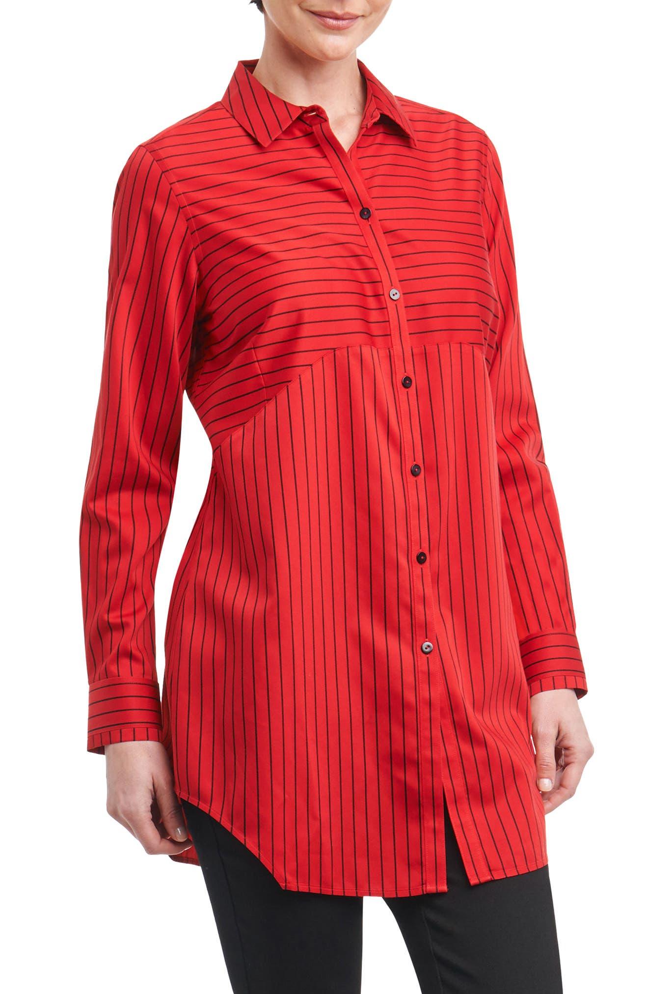 Gina in Holiday Stripe Shirt,                             Main thumbnail 1, color,                             Scarlet