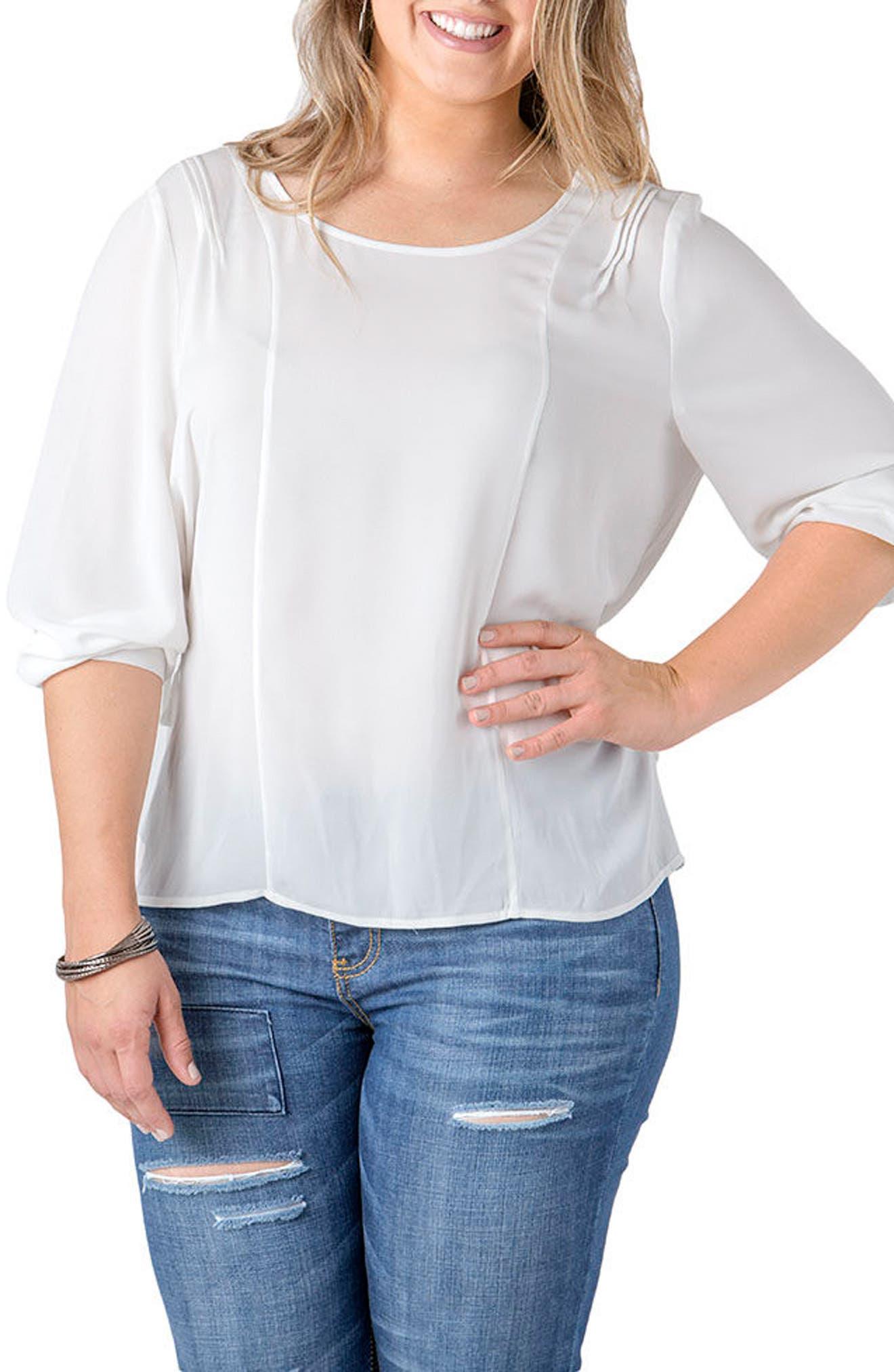 Joanna Cinch Back Top,                         Main,                         color, White