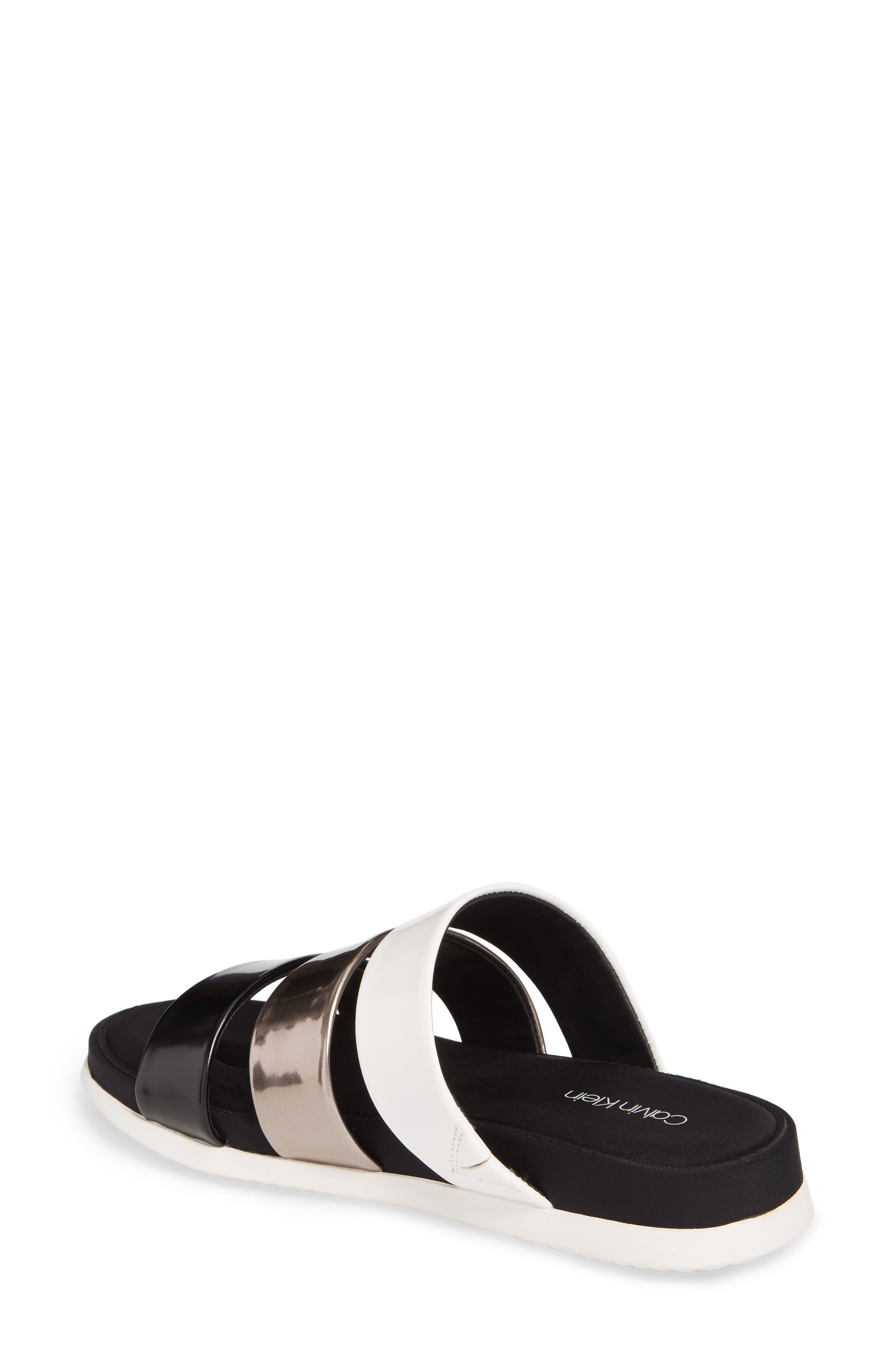 Dalana Slide Sandal,                             Alternate thumbnail 2, color,                             Black/ Pewter Faux Leather