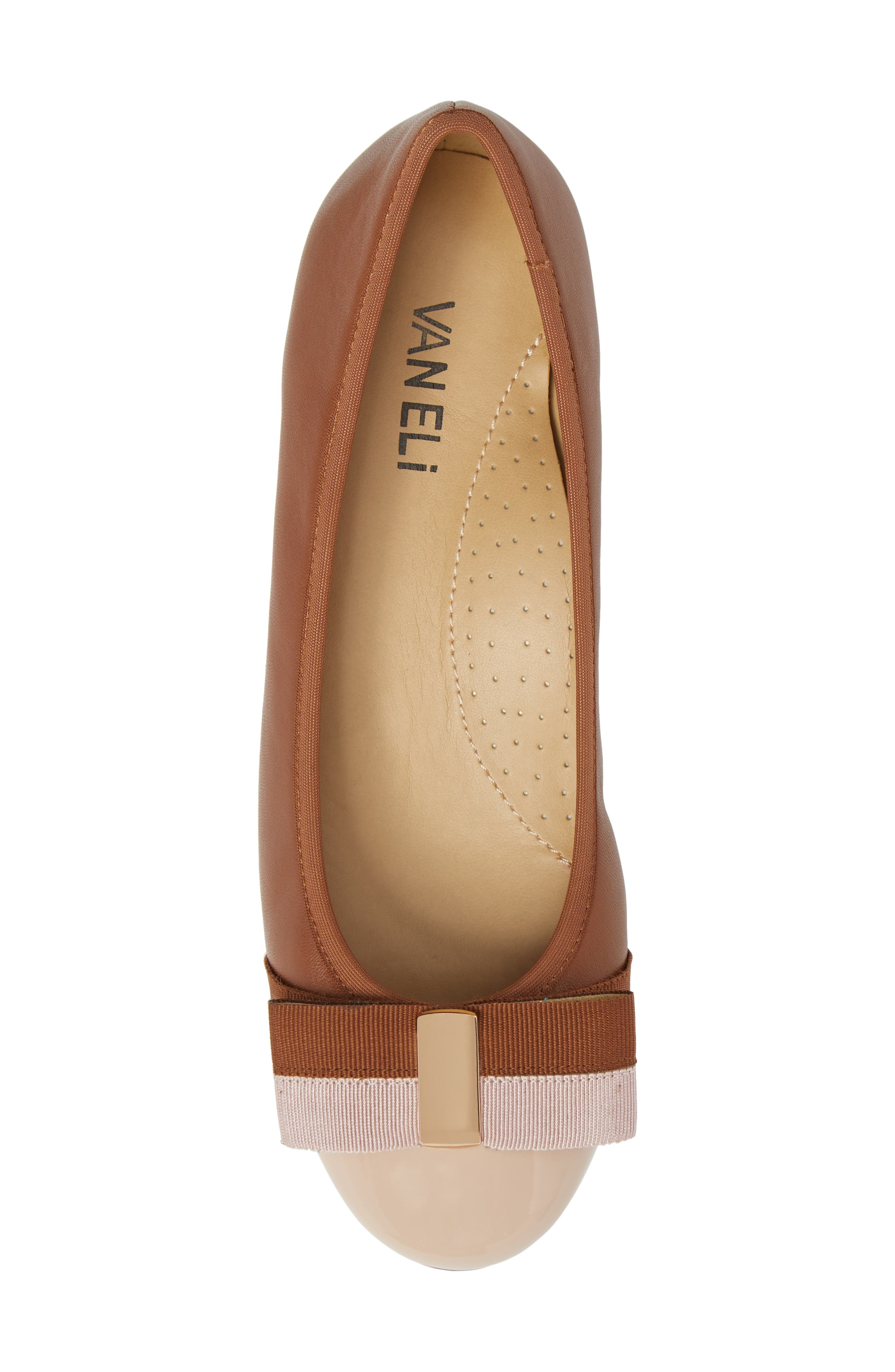 Salia Bow Flat,                             Alternate thumbnail 5, color,                             Cognac Leather