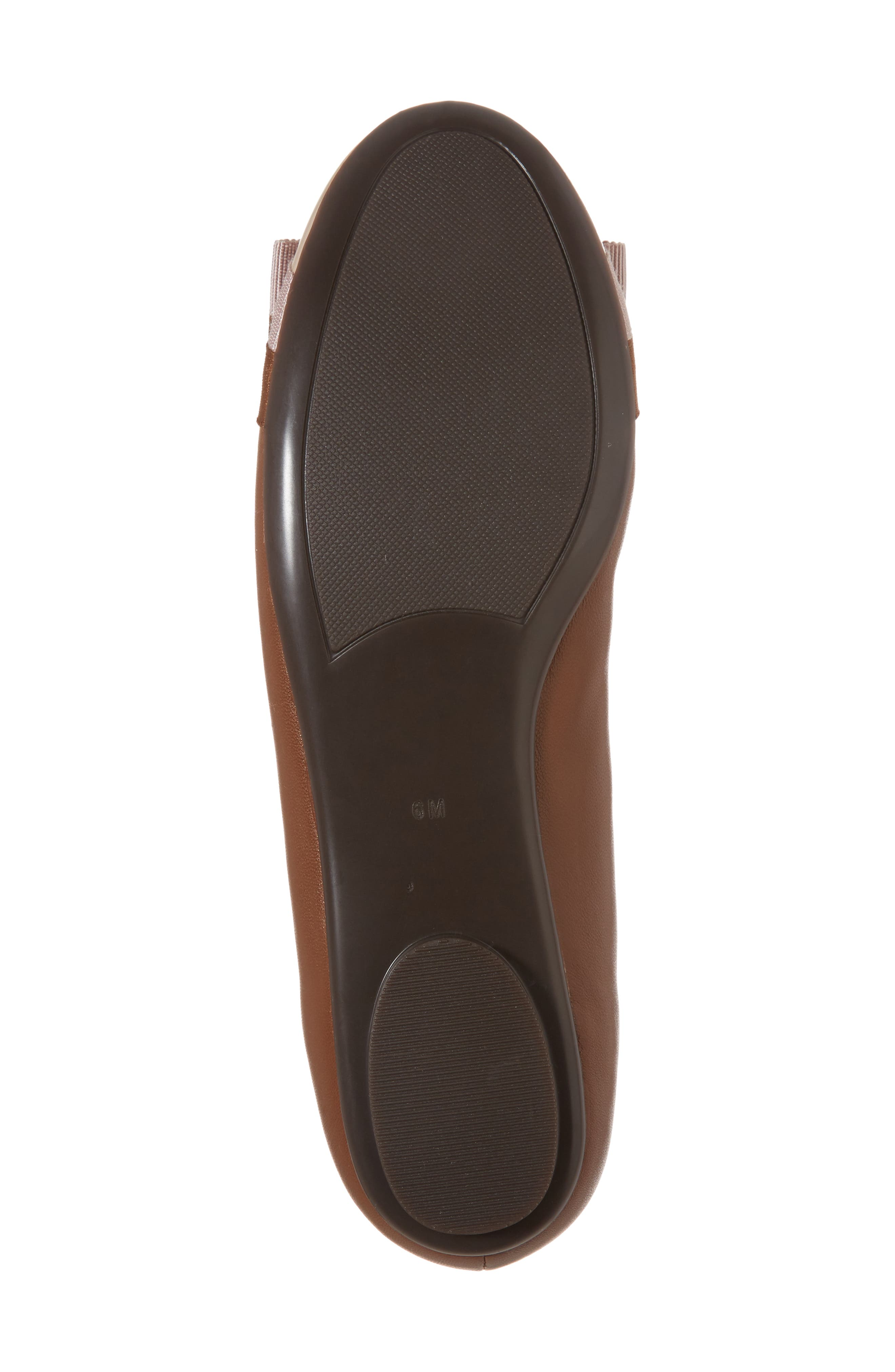 Salia Bow Flat,                             Alternate thumbnail 6, color,                             Cognac Leather
