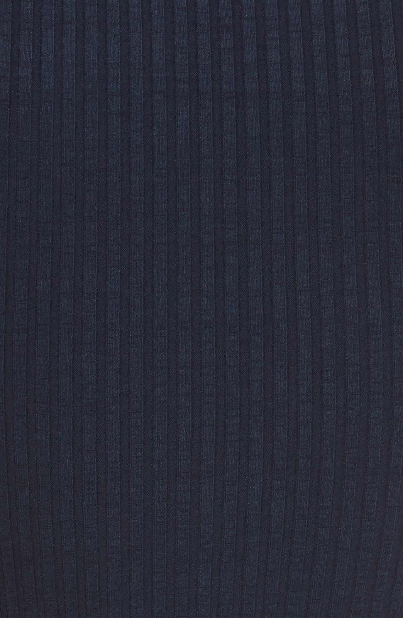 Knotted Rib Knit Midi Dress,                             Alternate thumbnail 6, color,                             Navy