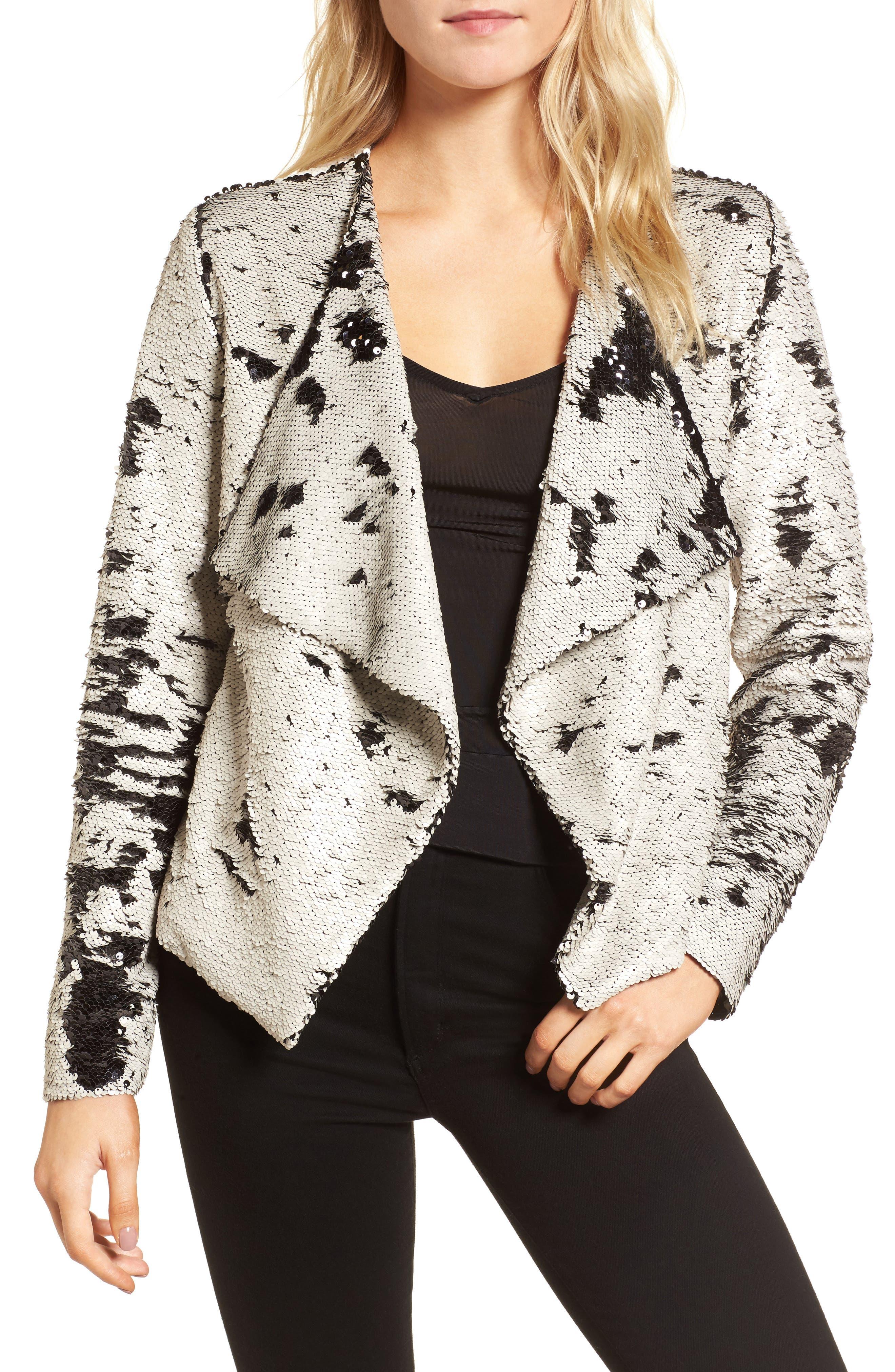 Bellwood Sequin Drape Front Jacket,                         Main,                         color, Barely Beige