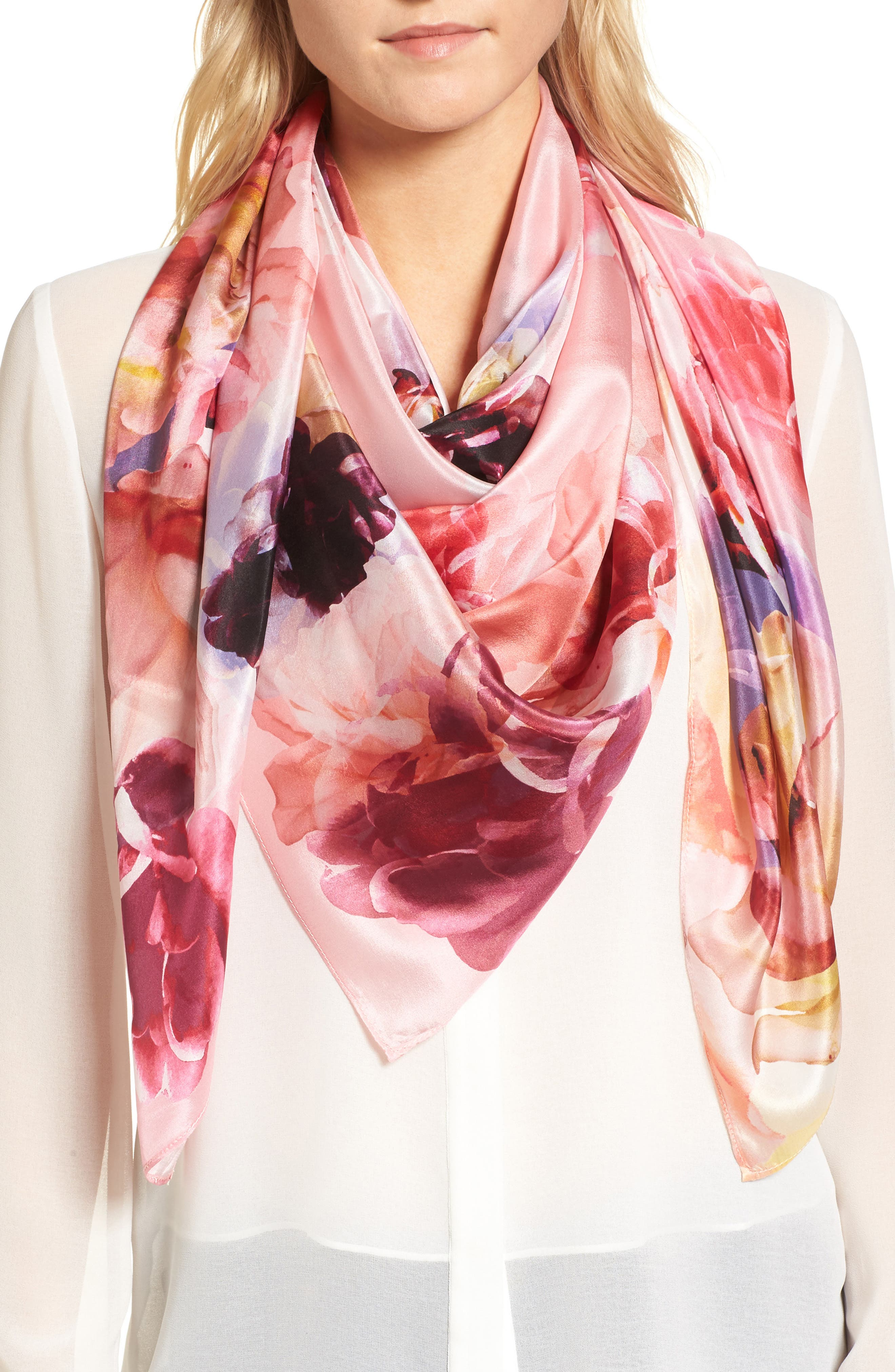 Print Silk Square Scarf,                             Main thumbnail 1, color,                             Coral Fresh Blooms