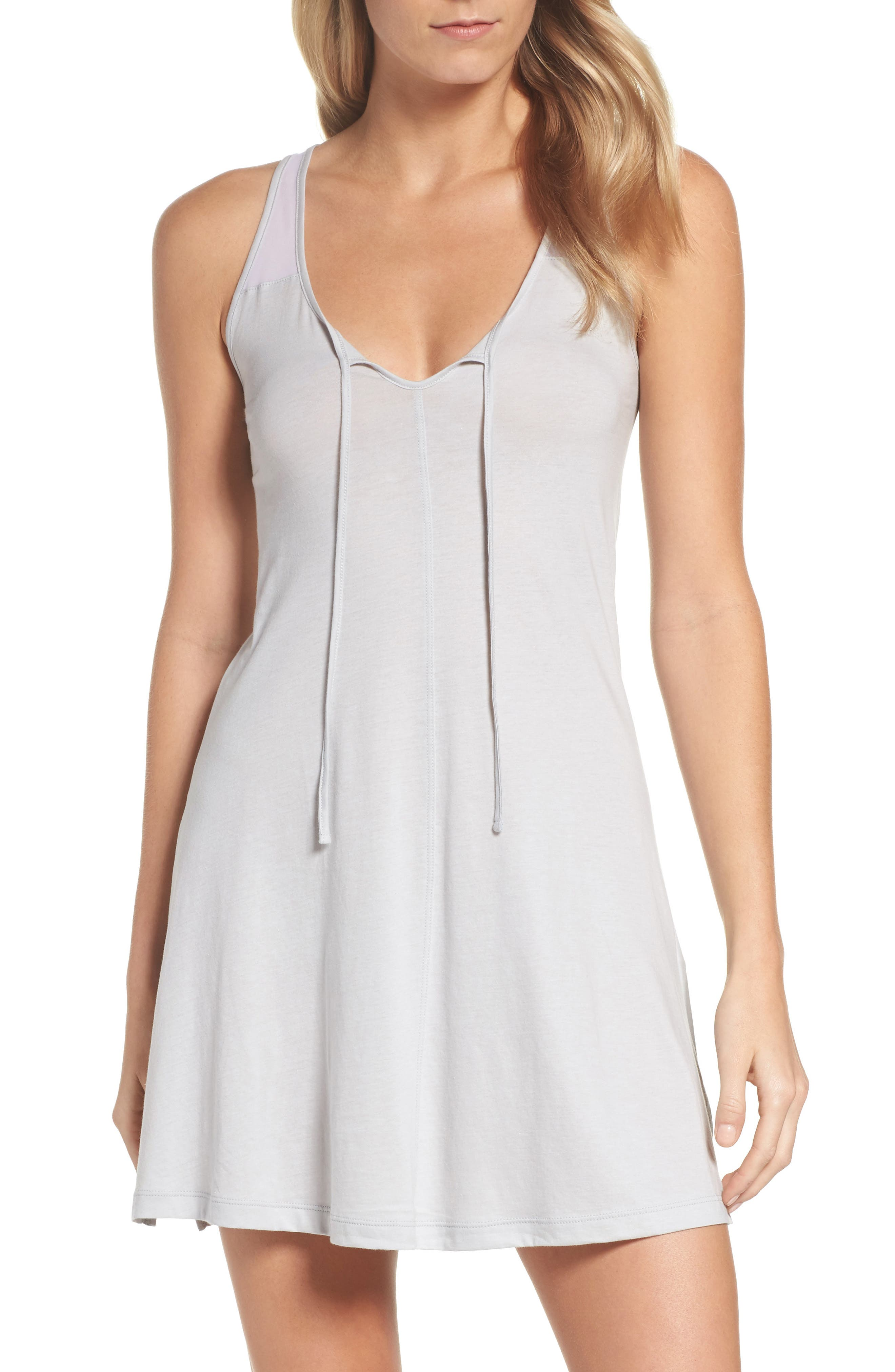 NAKED Tie Neck Chemise in Soft Gray