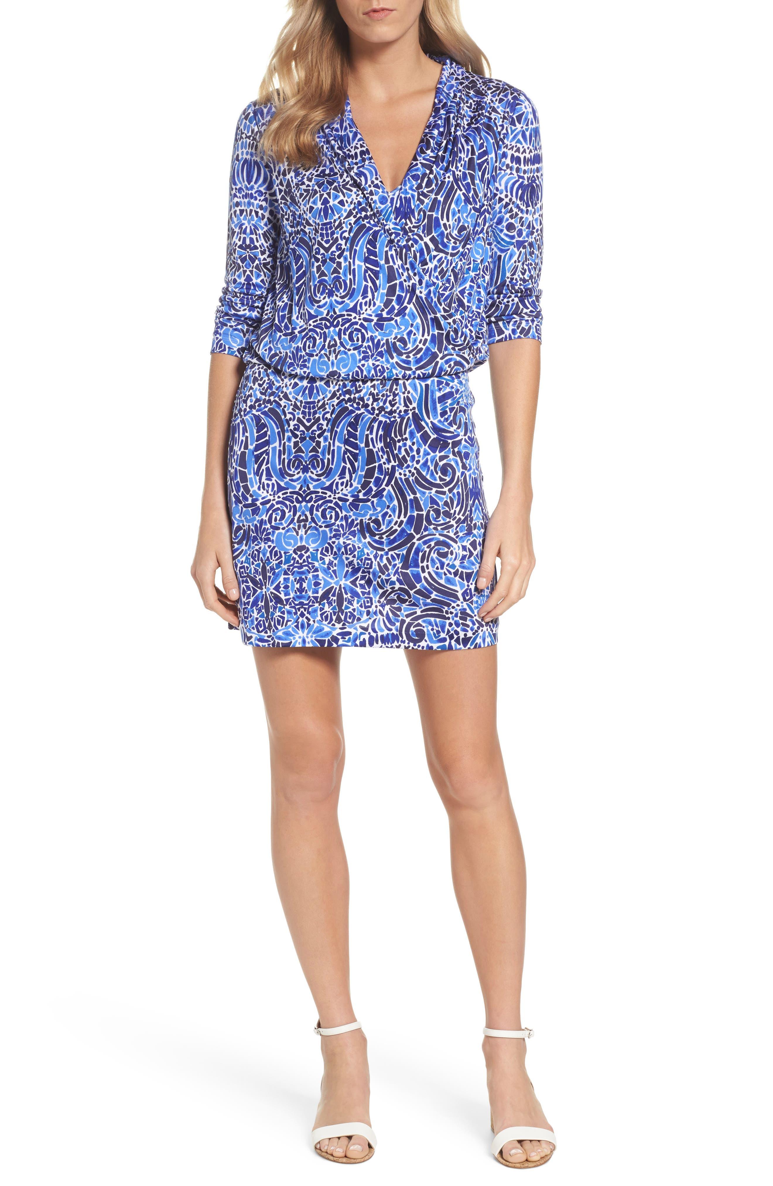 Felizia Silk Dress,                         Main,                         color, Bright Navy Taverna Tile