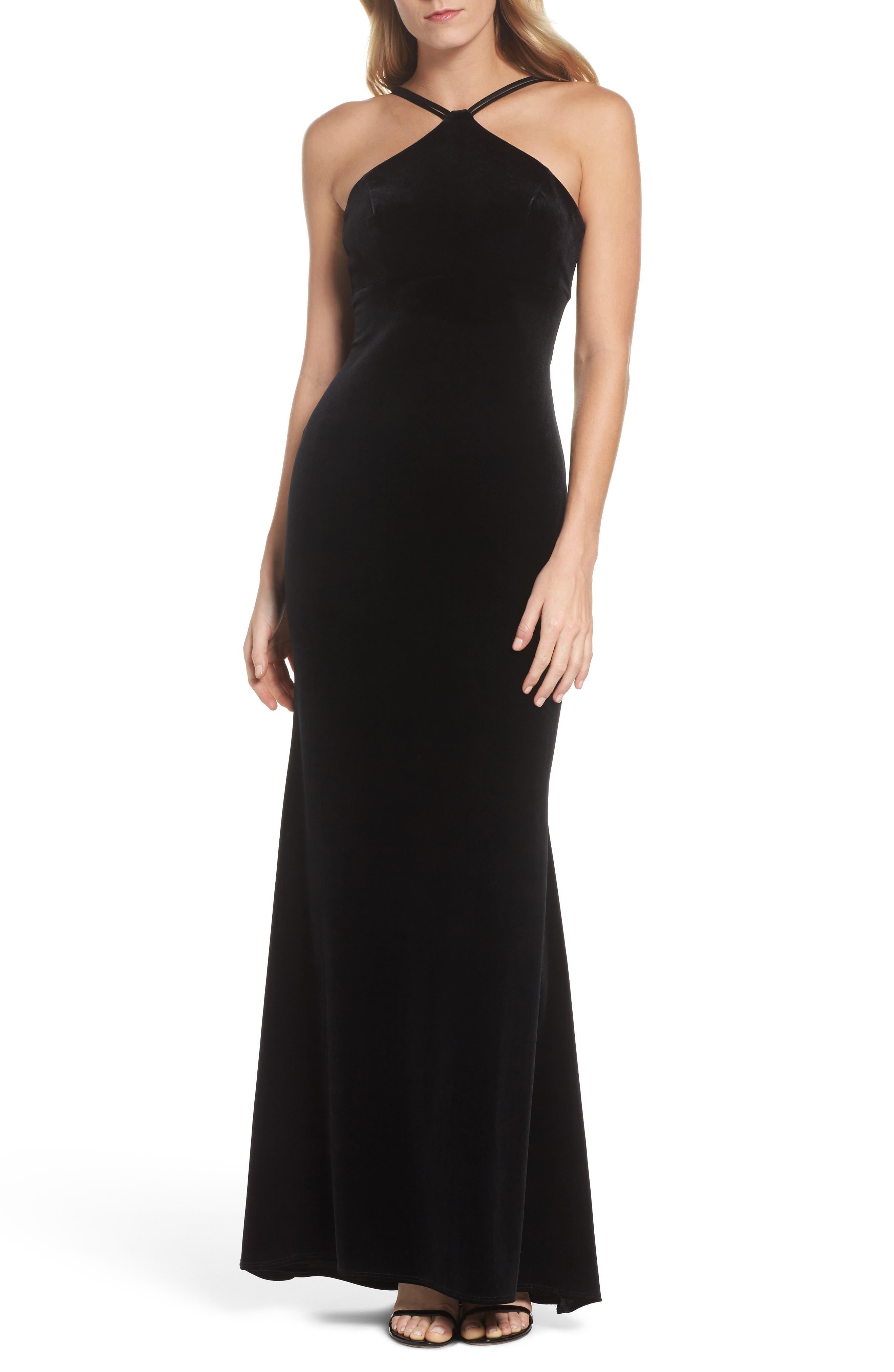 Xscape Halter Velvet Mermaid Gown