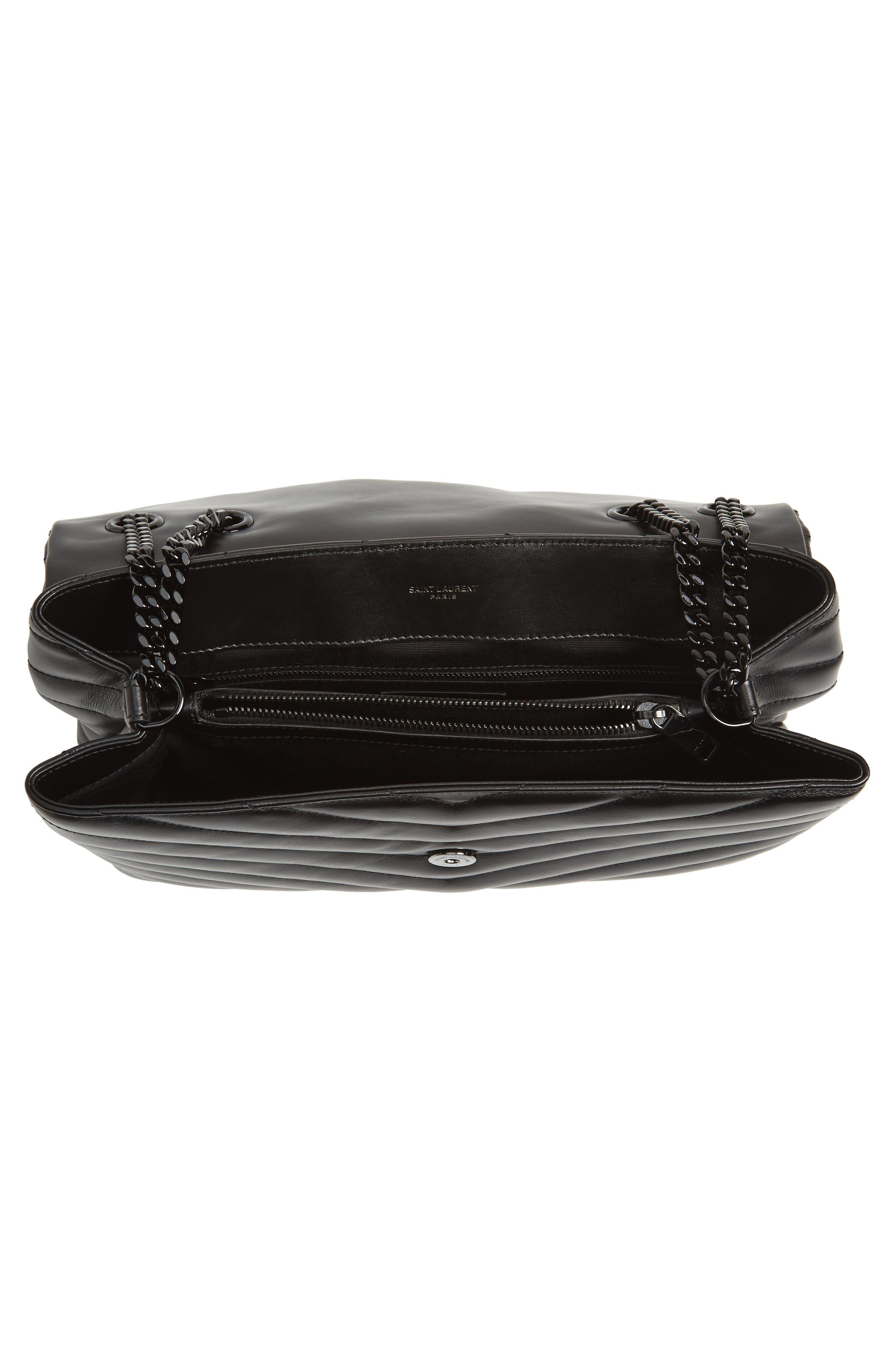 Medium Loulou Matelassé Leather Shoulder Bag,                             Alternate thumbnail 4, color,                             Noir