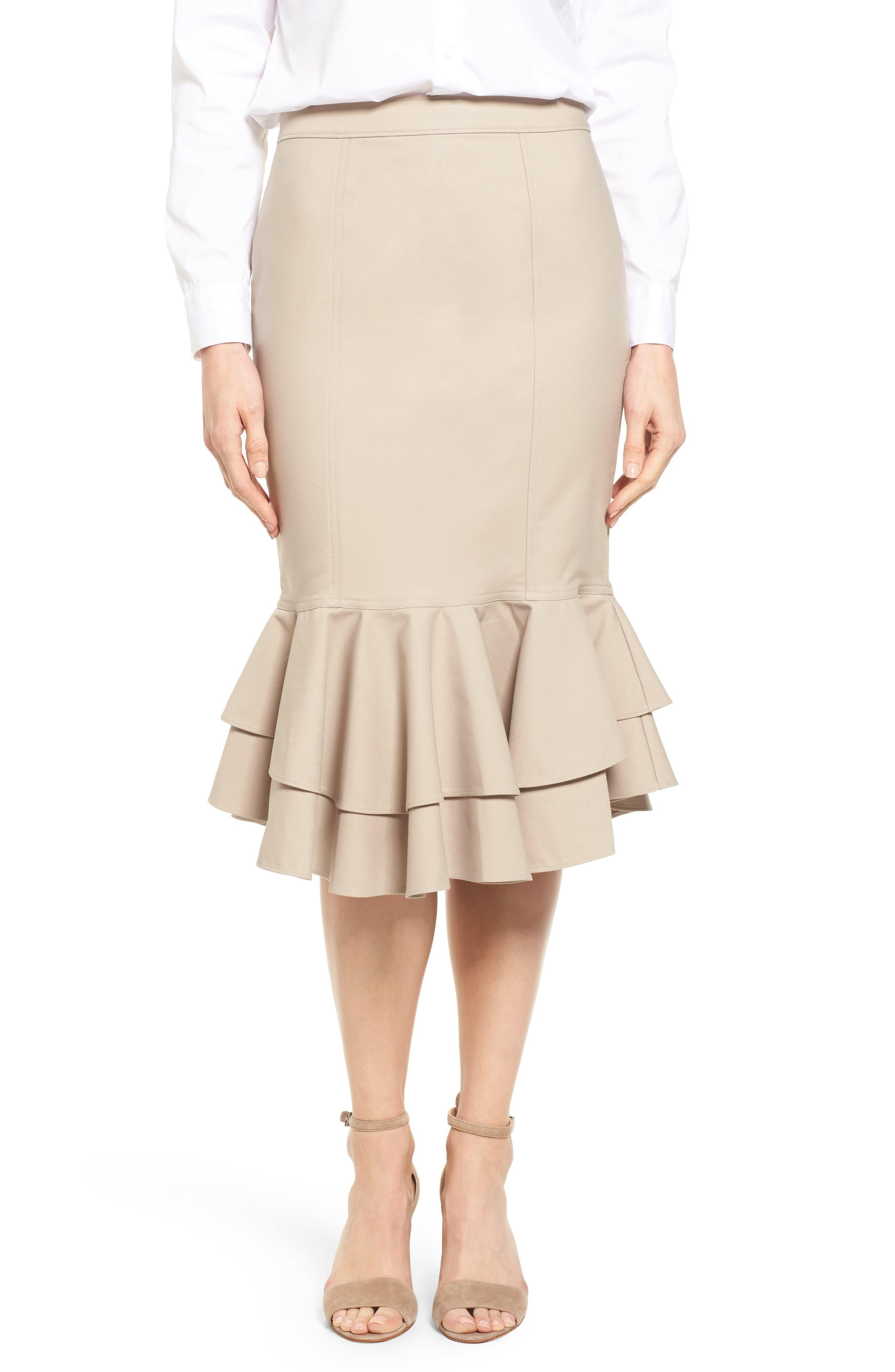 Halogen® Ruffle Hem Pencil Skirt (Regular & Petite)
