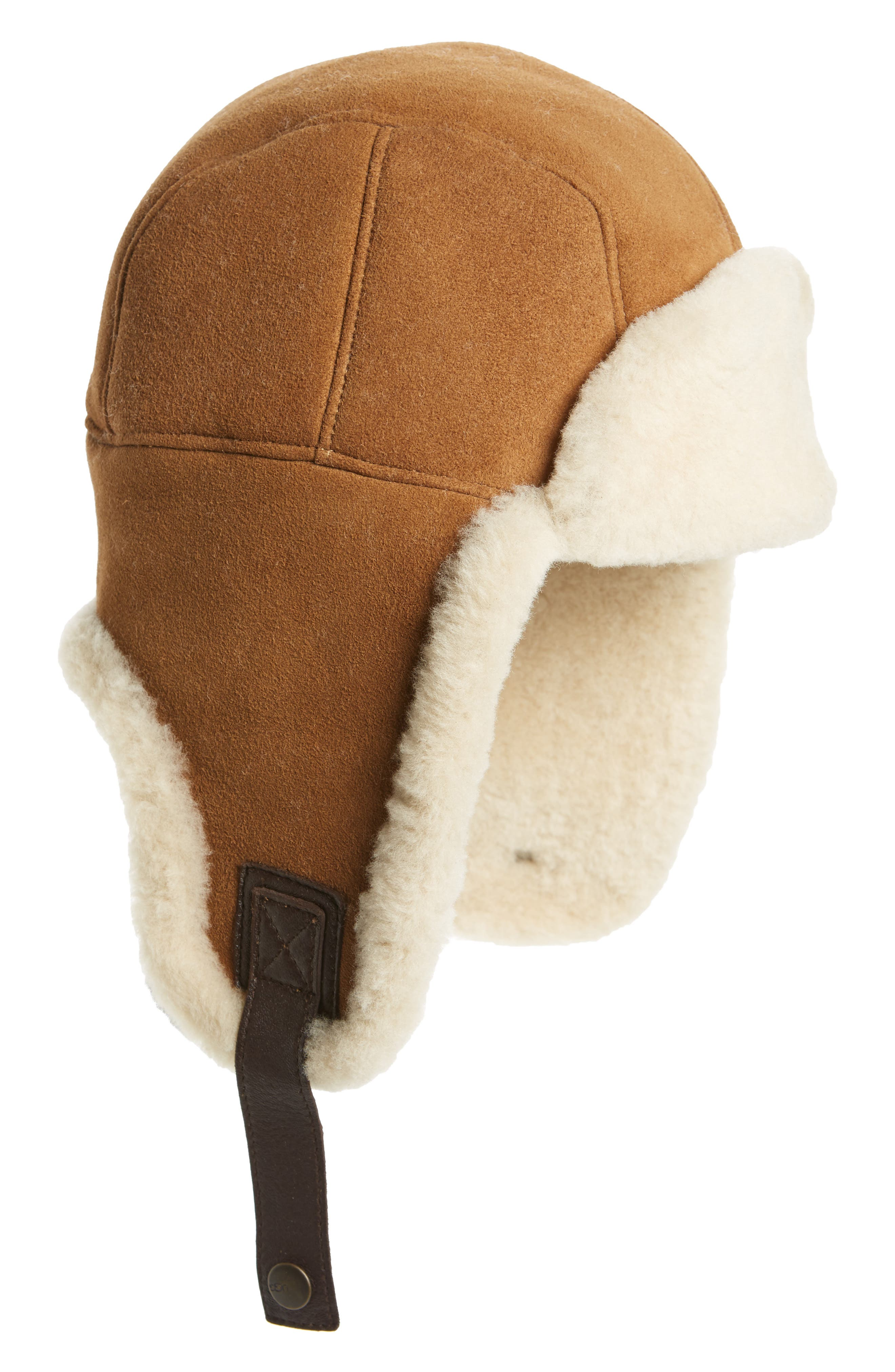 Genuine Shearling Trapper Hat,                         Main,                         color, Chestnut
