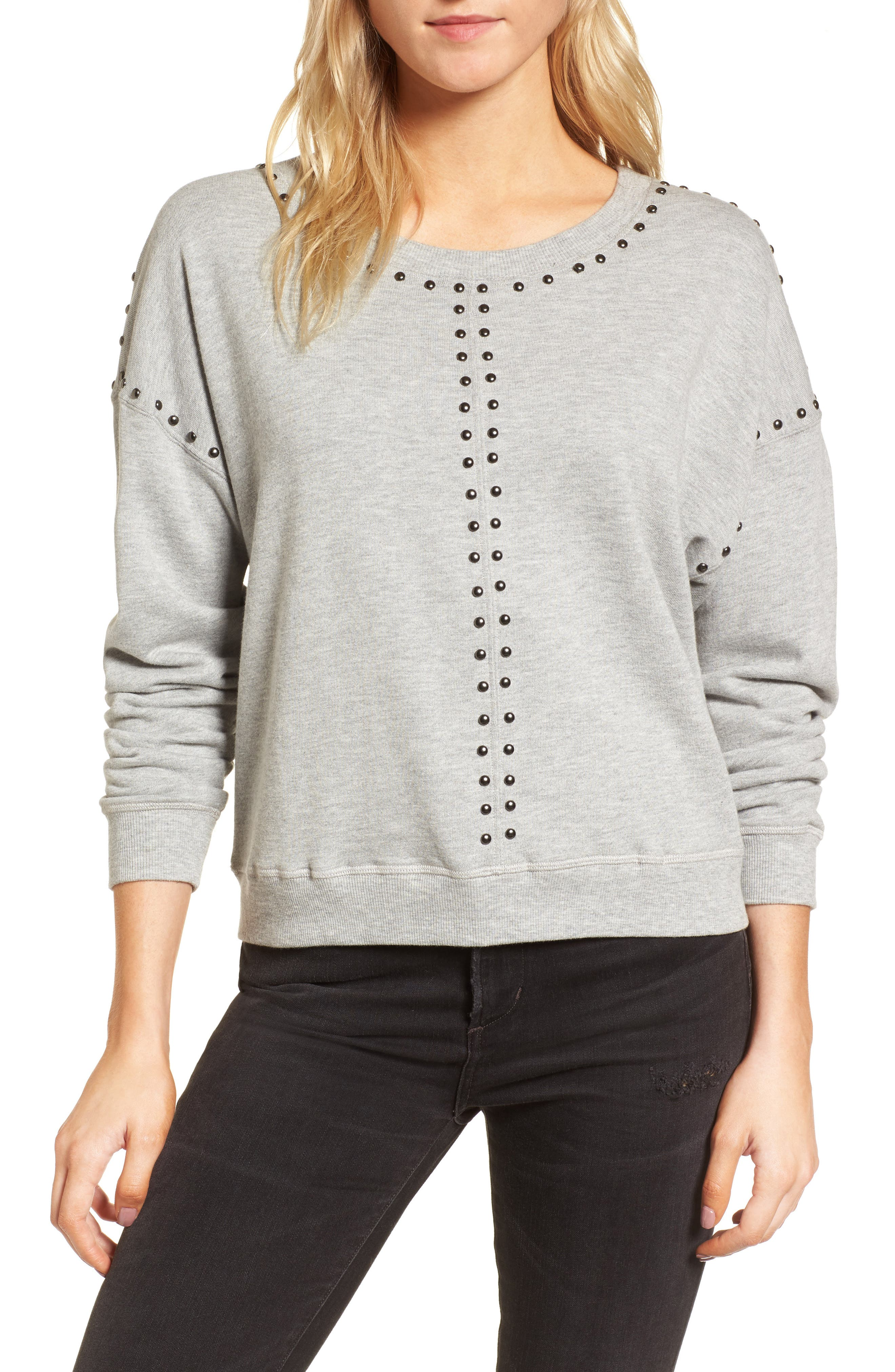 Wilson Studded Sweatshirt,                         Main,                         color, Heather Grey