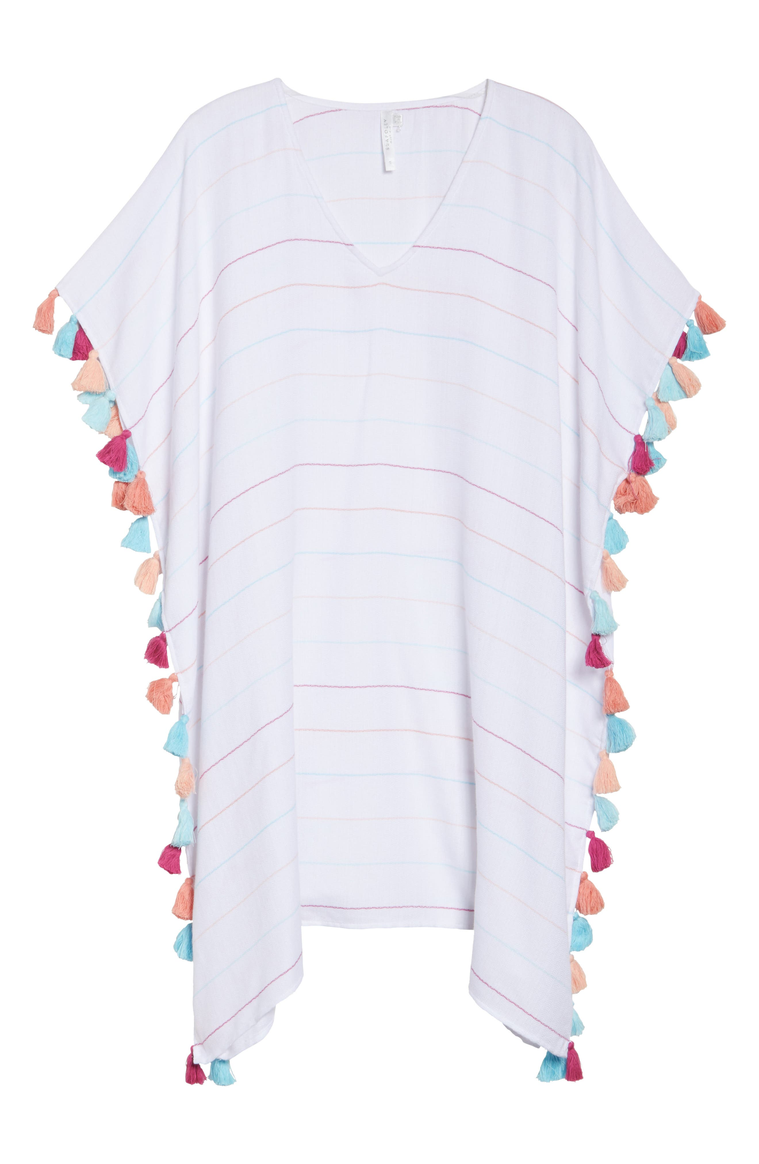 Modern Love Stripe Cover-Up Caftan,                             Alternate thumbnail 6, color,                             White