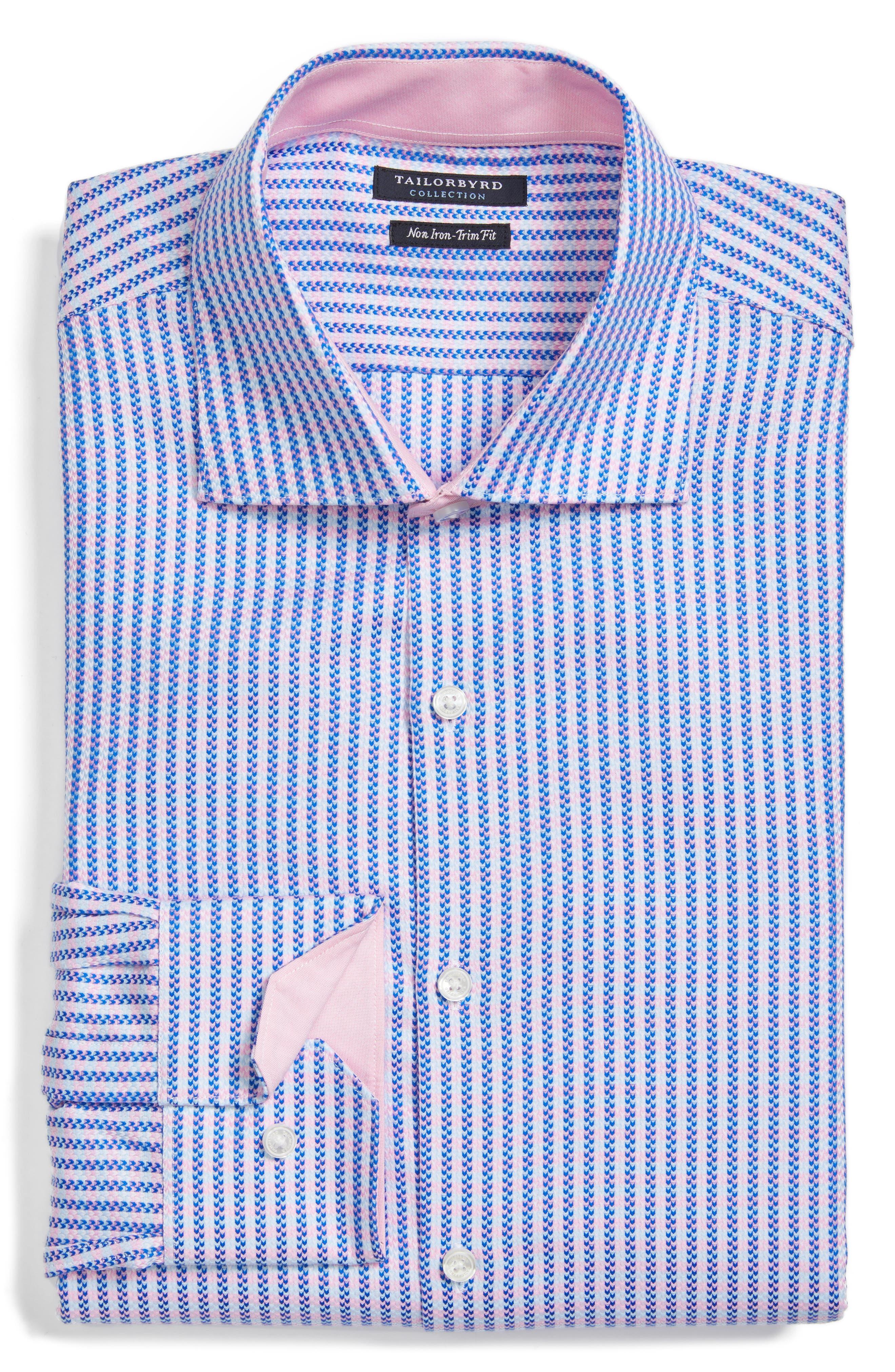 Trim Fit Stripe Dress Shirt,                             Alternate thumbnail 4, color,                             Pink