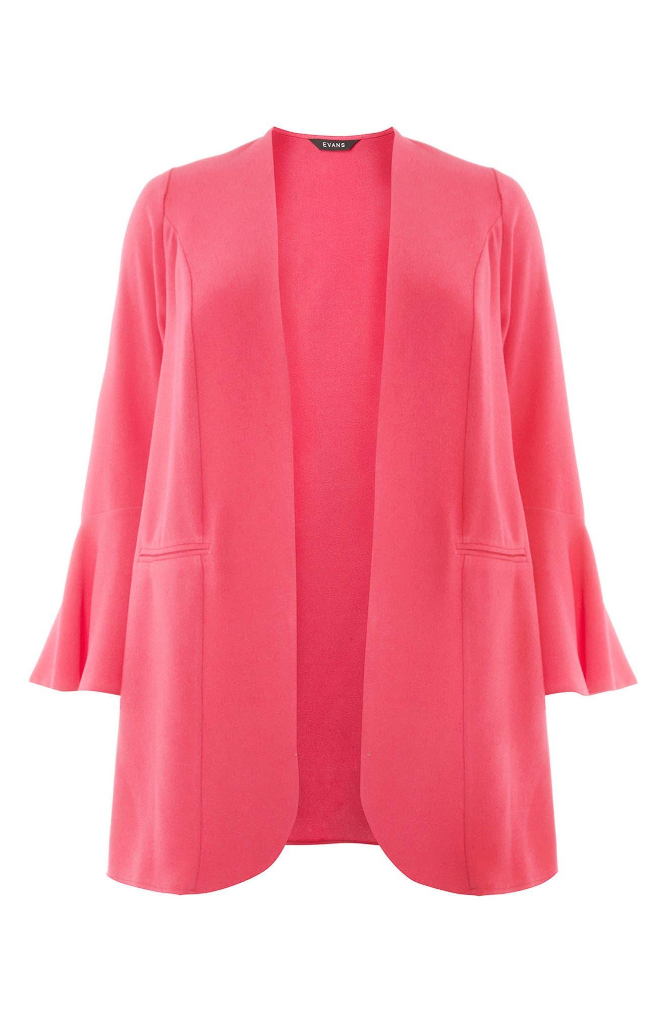 Ruffle Sleeve Jacket,                             Alternate thumbnail 5, color,                             Hot Pink