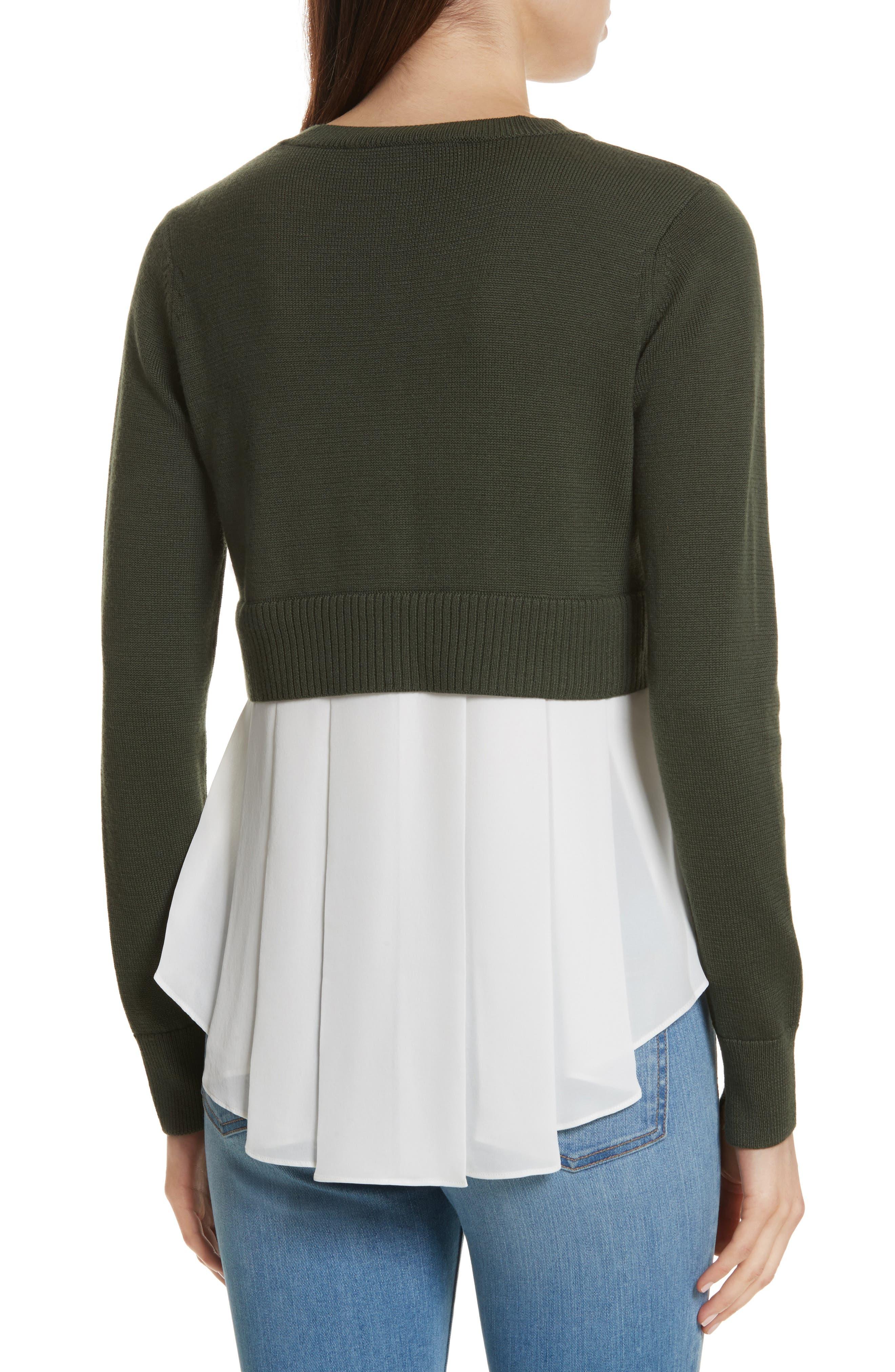 Alternate Image 2  - Veronica Beard Concord V Neck Mixed Media Sweater
