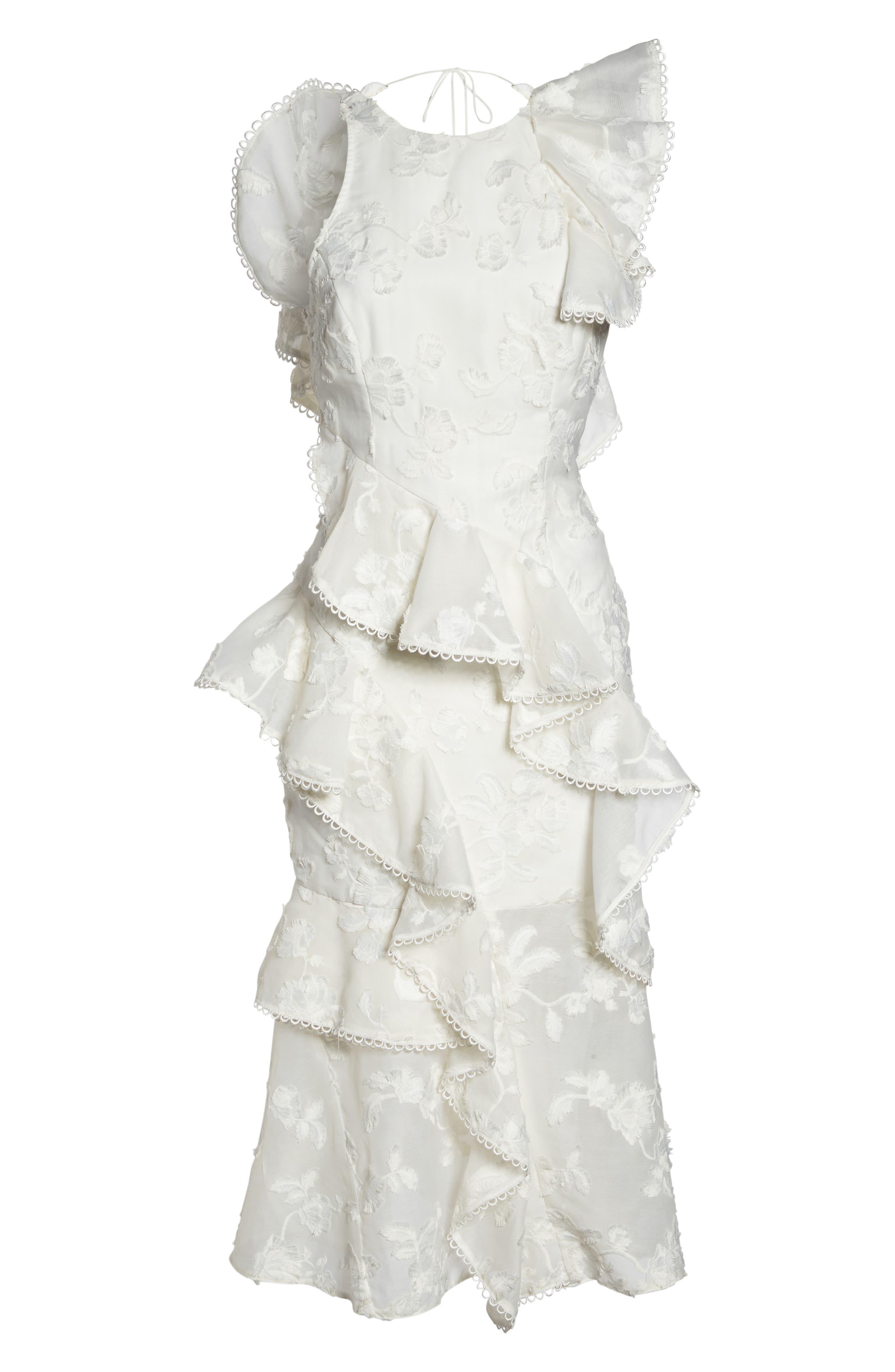 Shine Ruffle Lace Tea Length Dress,                             Alternate thumbnail 6, color,                             Ivory