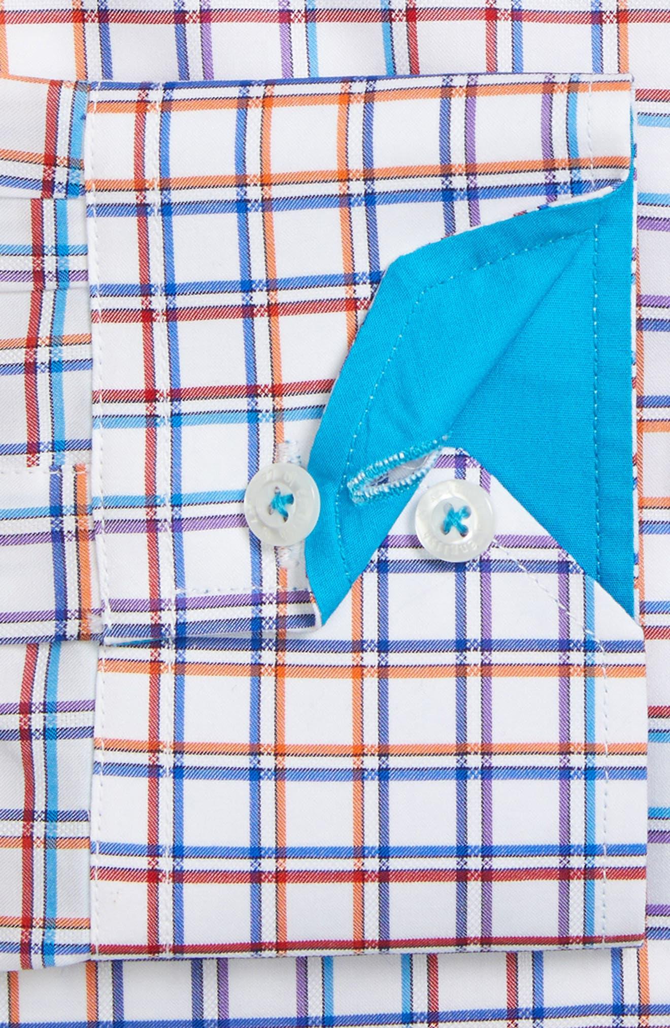 Trim Fit Check Dress Shirt,                             Alternate thumbnail 2, color,                             White