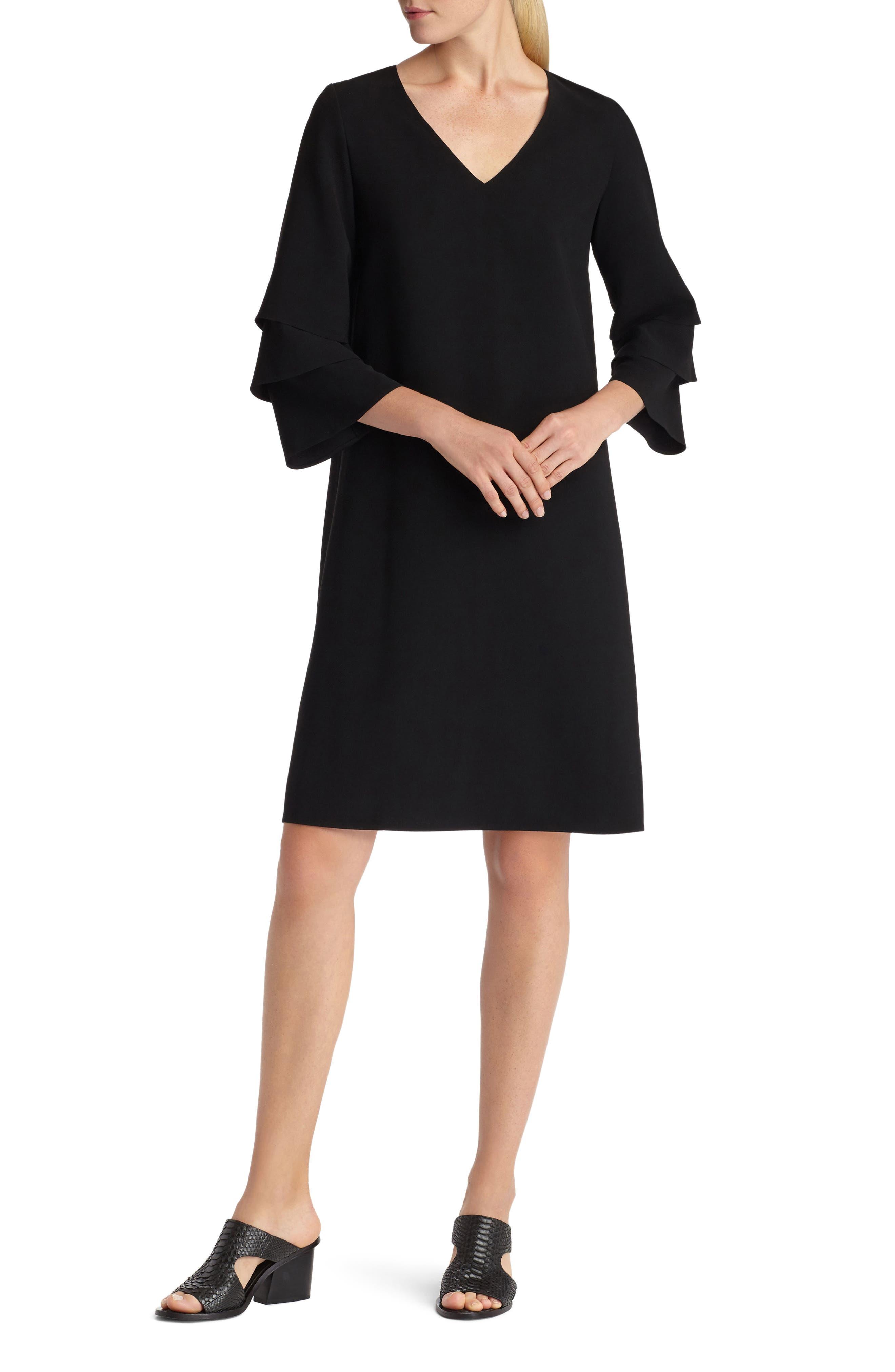 Velez Finesse Crepe Shift Dress,                             Main thumbnail 1, color,                             Black