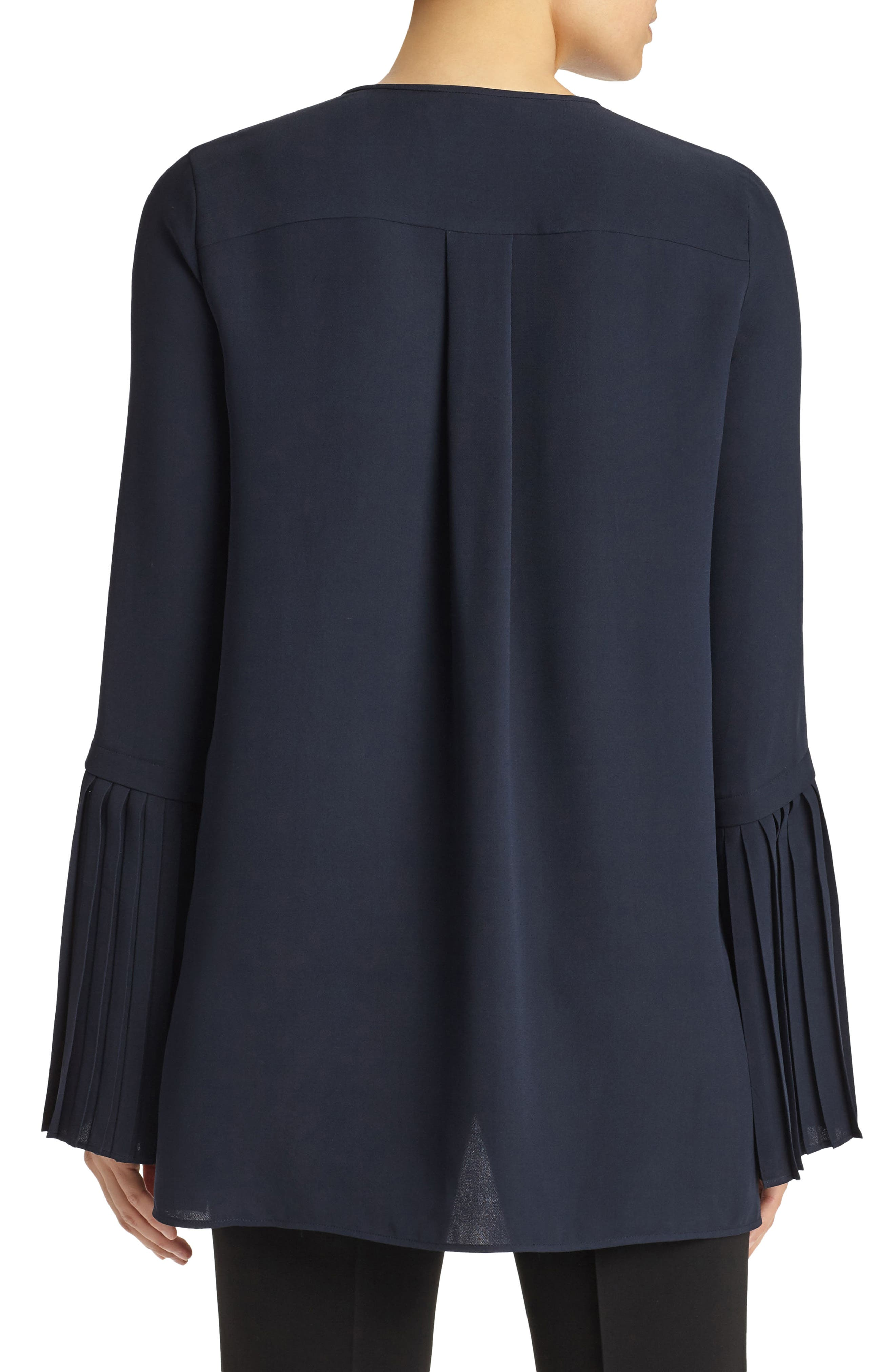Shellie Pleated Sleeve Blouse,                             Alternate thumbnail 2, color,                             Ink