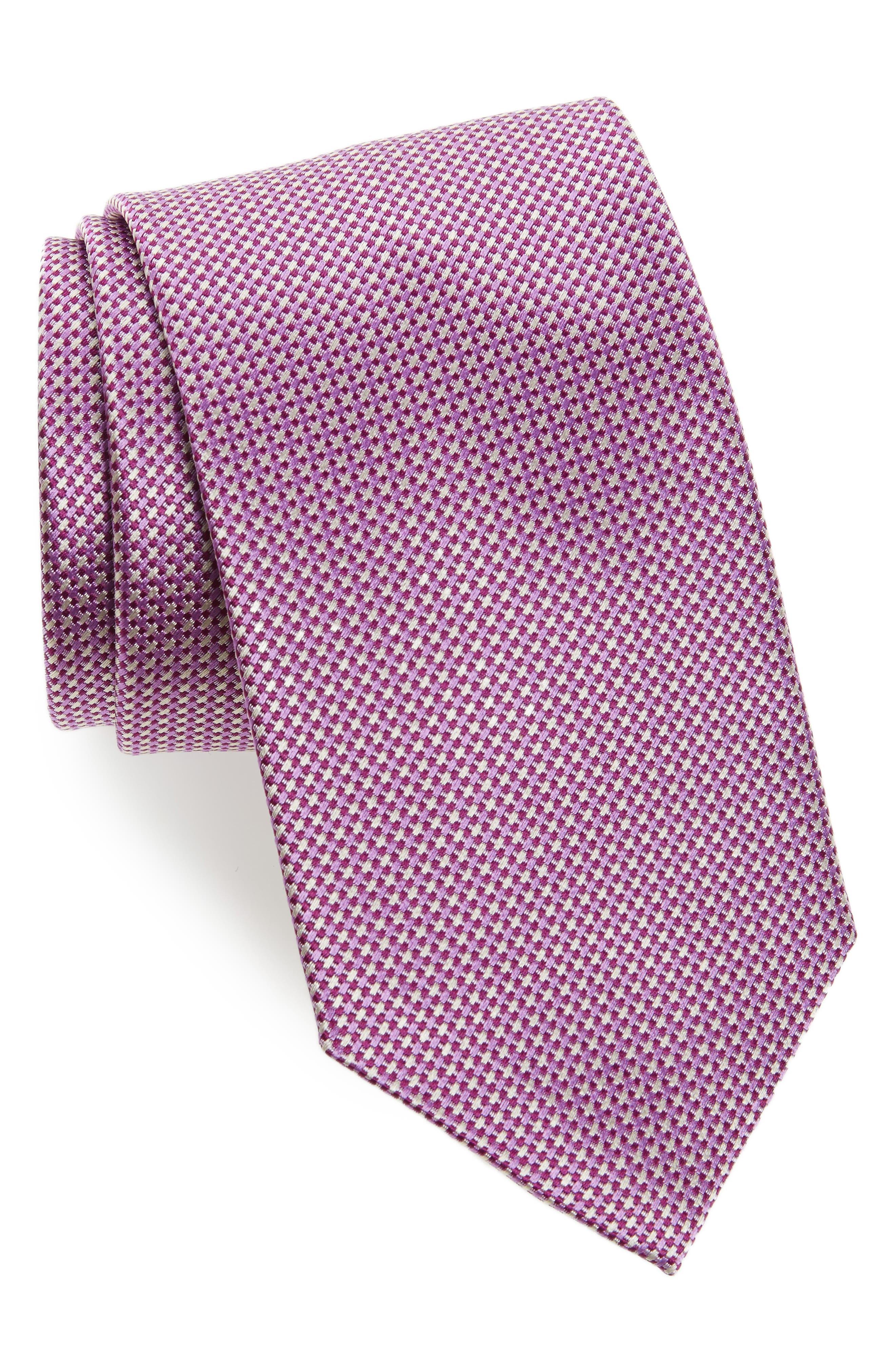 Geometric Silk Tie,                         Main,                         color, Berry