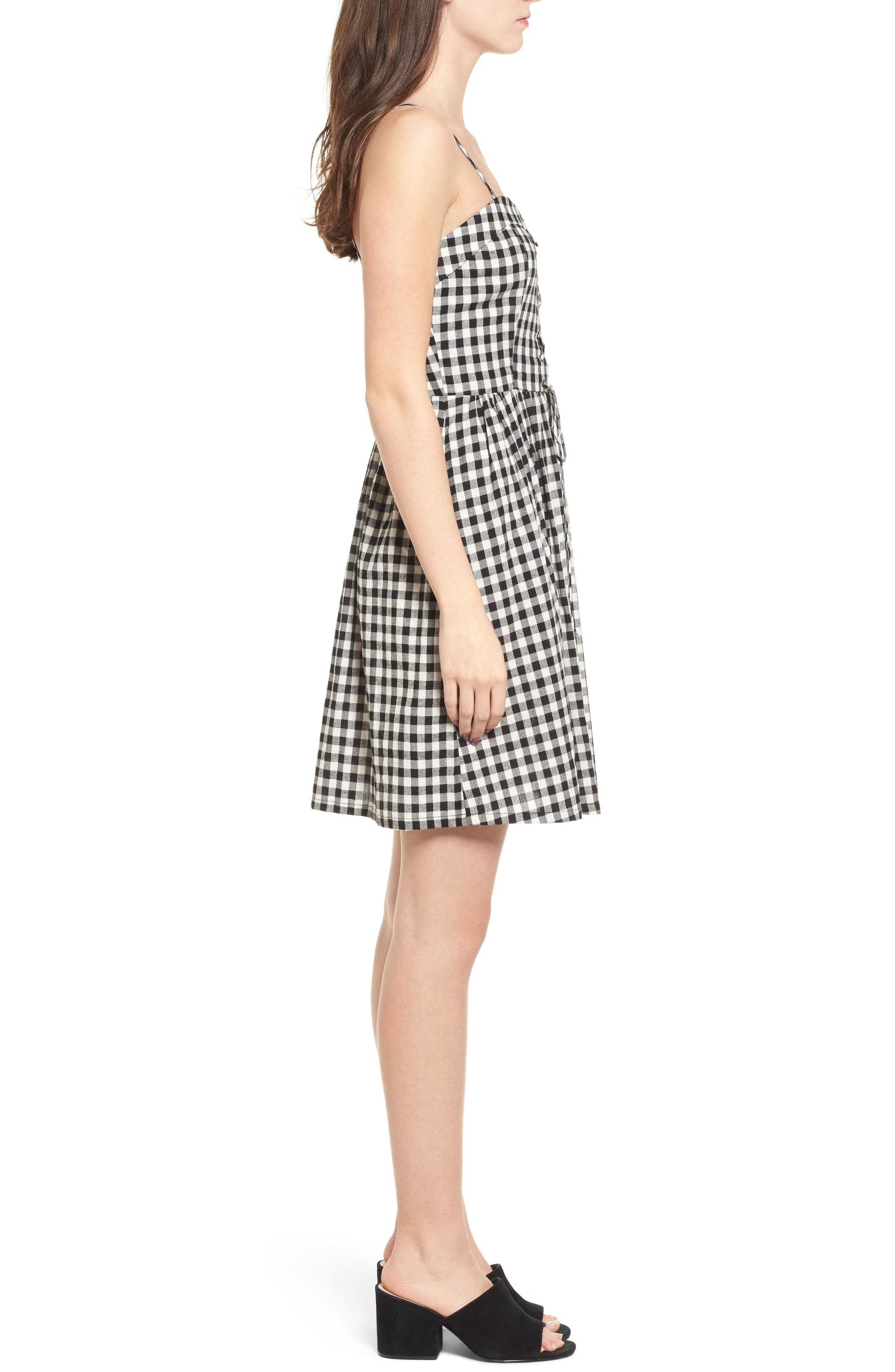 Lace-Up Gingham Dress,                             Alternate thumbnail 4, color,                             Black Gingham