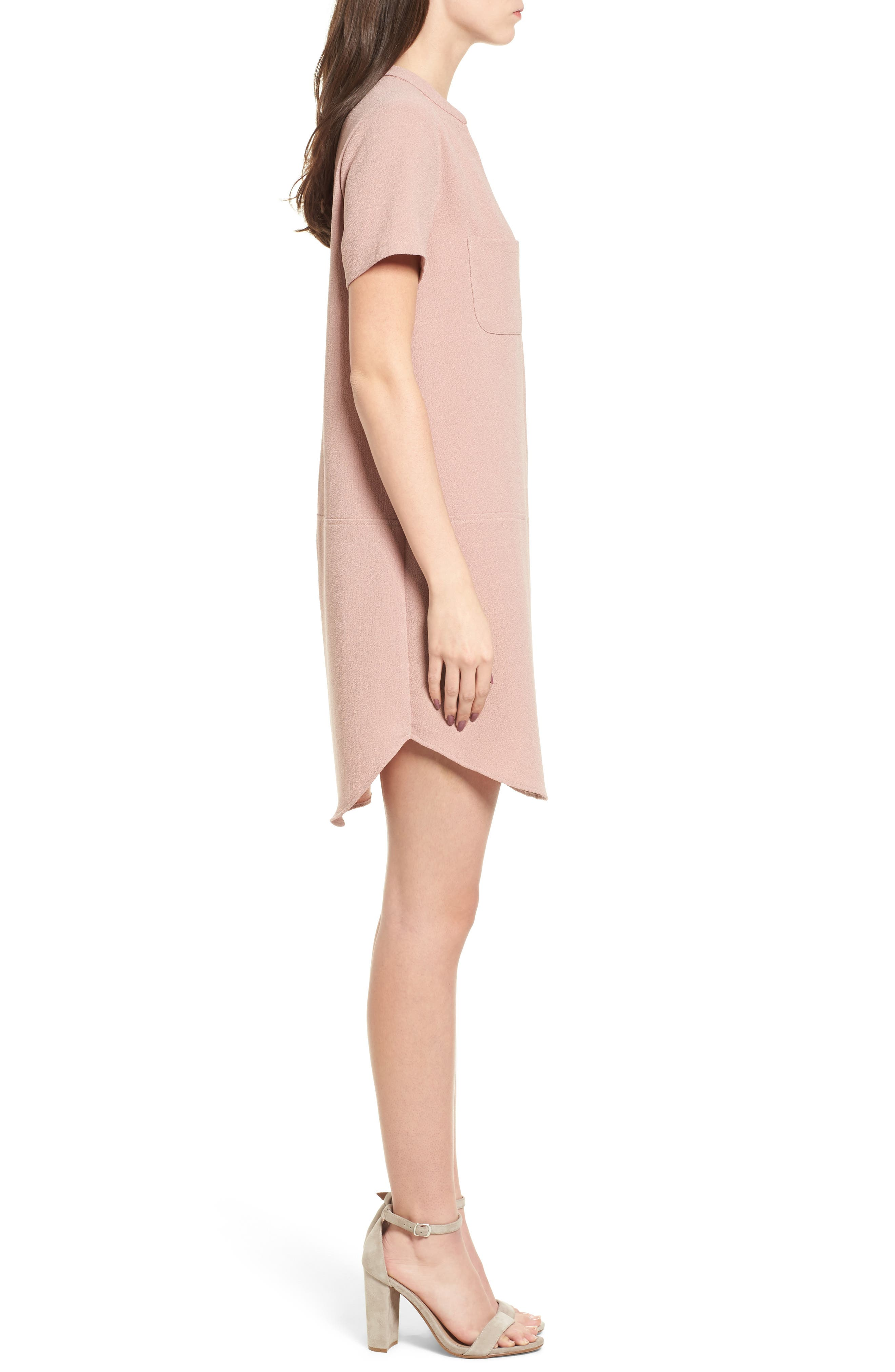 Hailey Crepe Dress,                             Alternate thumbnail 4, color,                             Pink Adobe