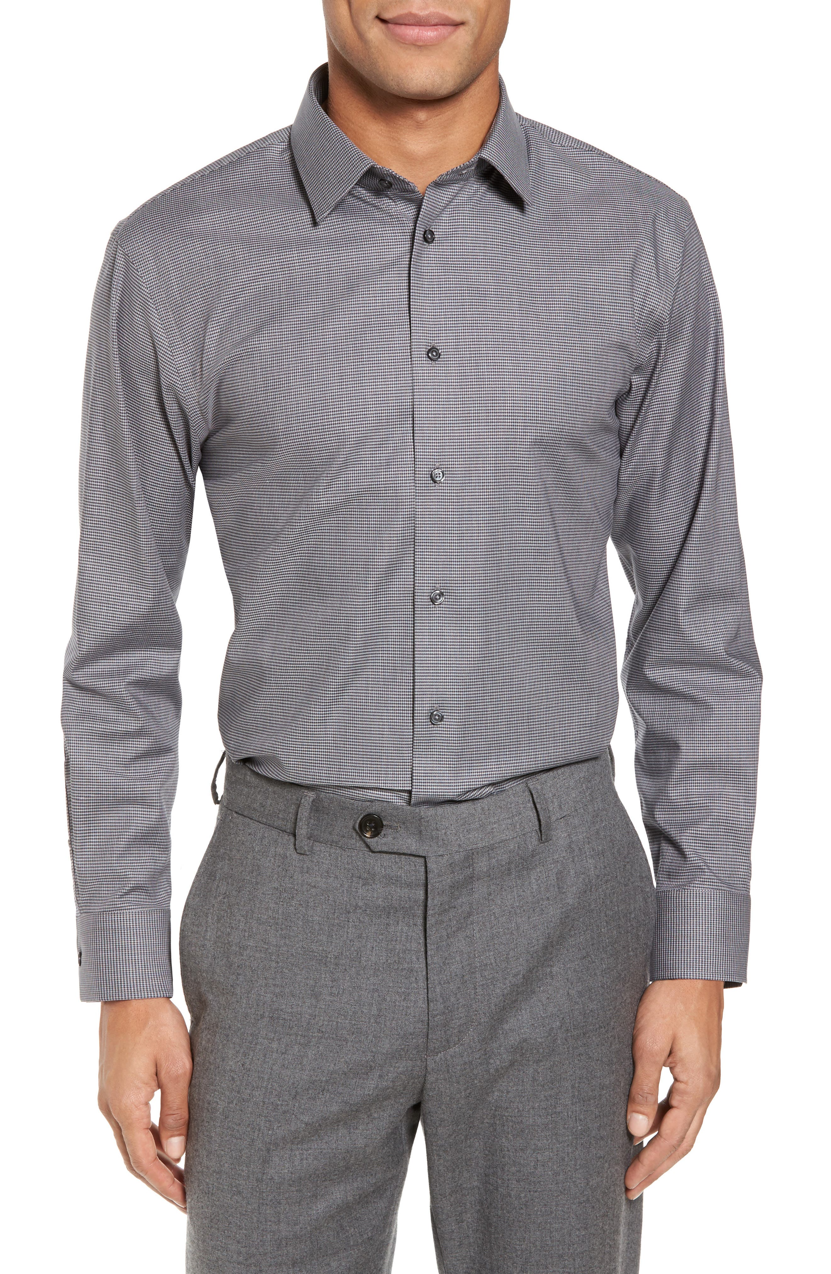 Trim Fit No-Iron Micro Houndstooth Stretch Dress Shirt,                             Alternate thumbnail 2, color,                             Grey Onyx