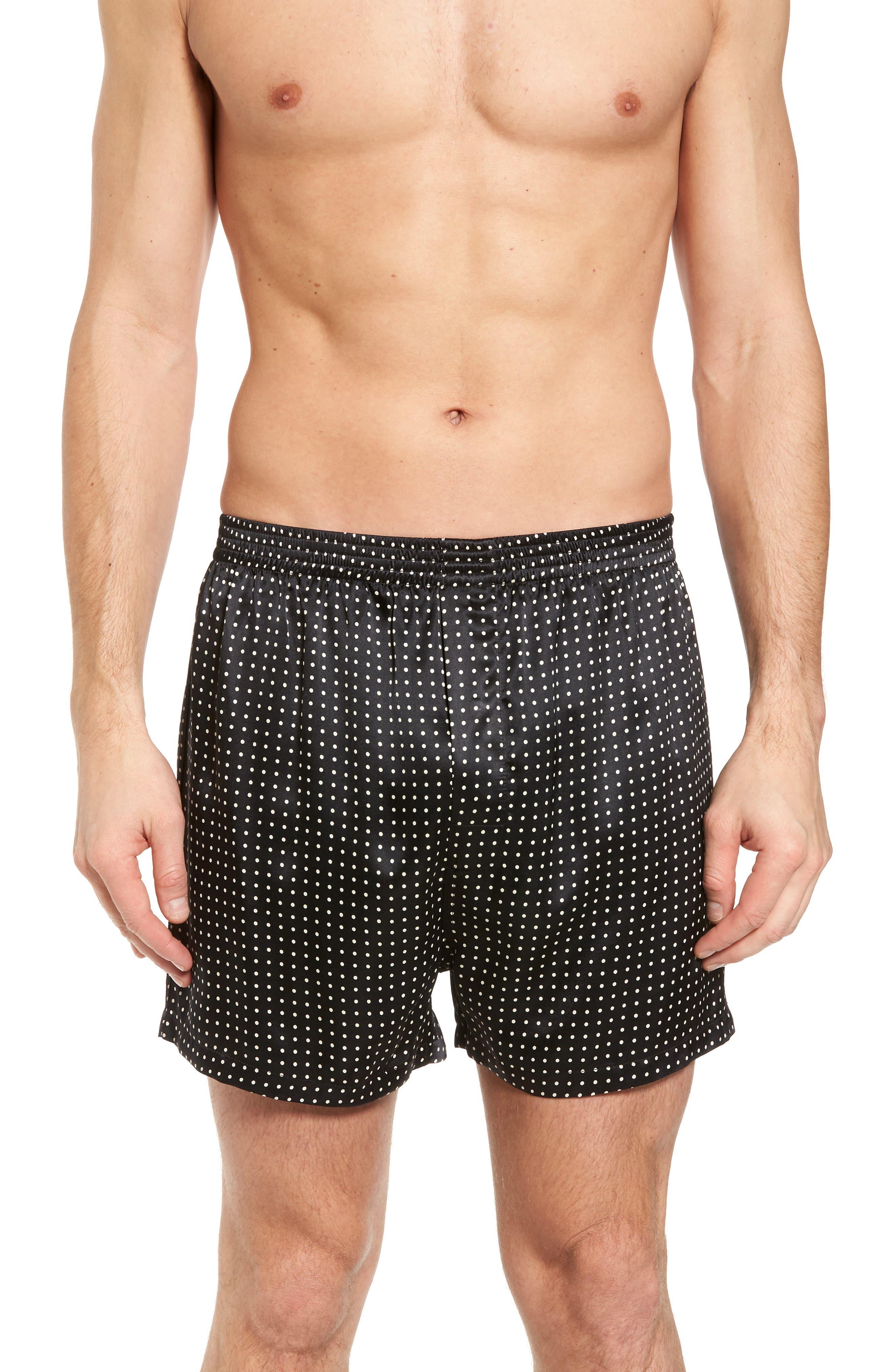 Dot Silk Boxers,                         Main,                         color, Black/ Black Piping