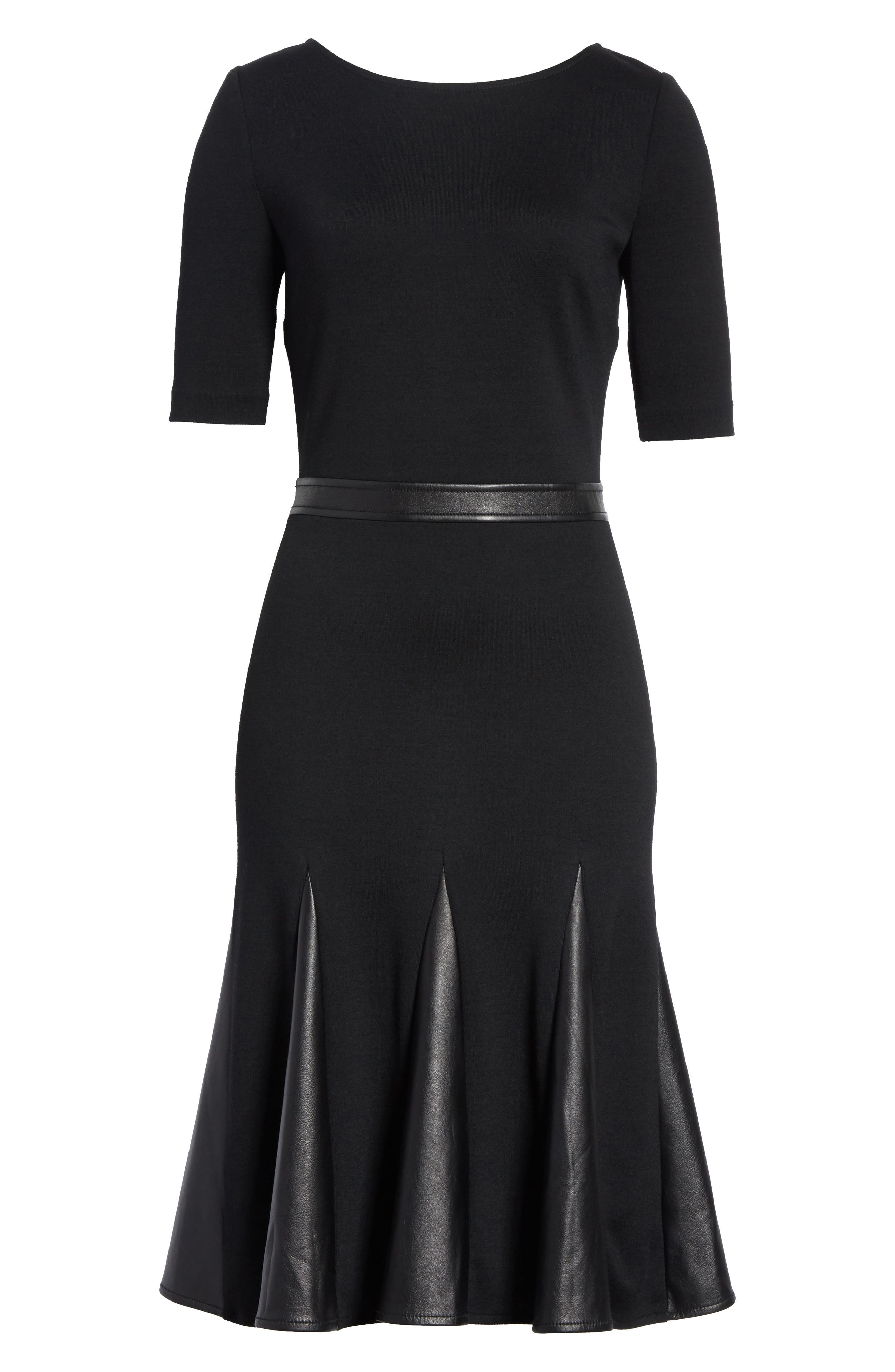 Alternate Image 6  - St. John Collection Pleated Milano Knit & Leather Dress