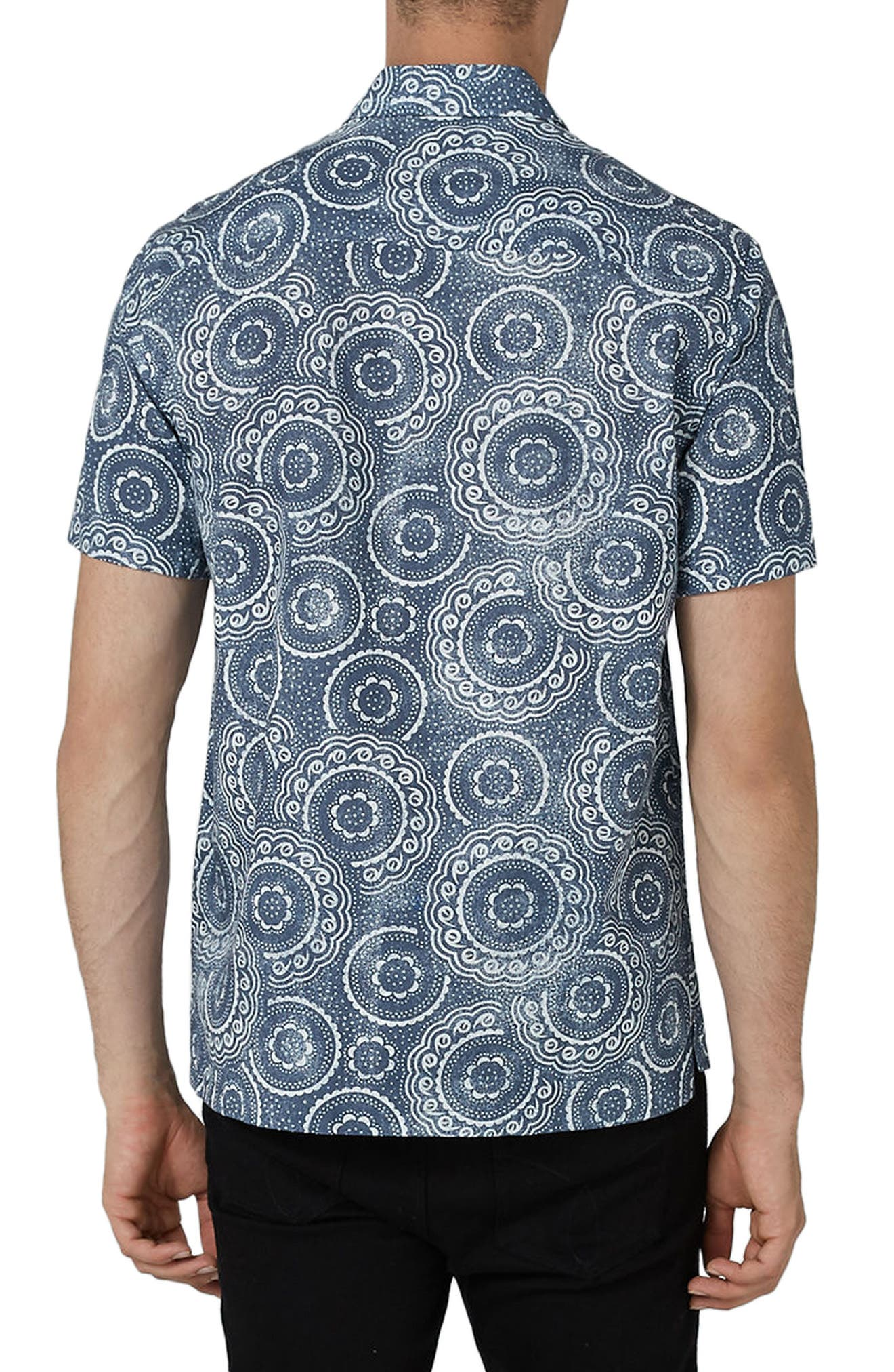 Trim Fit Circle Print Woven Shirt,                             Alternate thumbnail 2, color,                             Blue Multi