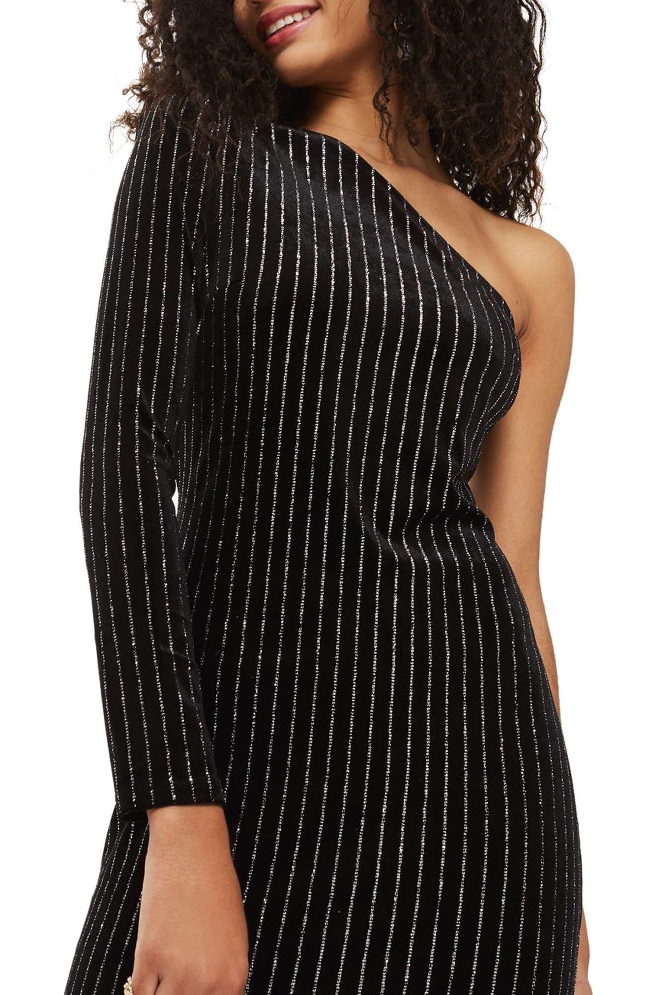 Glitter Stripe One-Shoulder Dress,                             Alternate thumbnail 2, color,                             Black