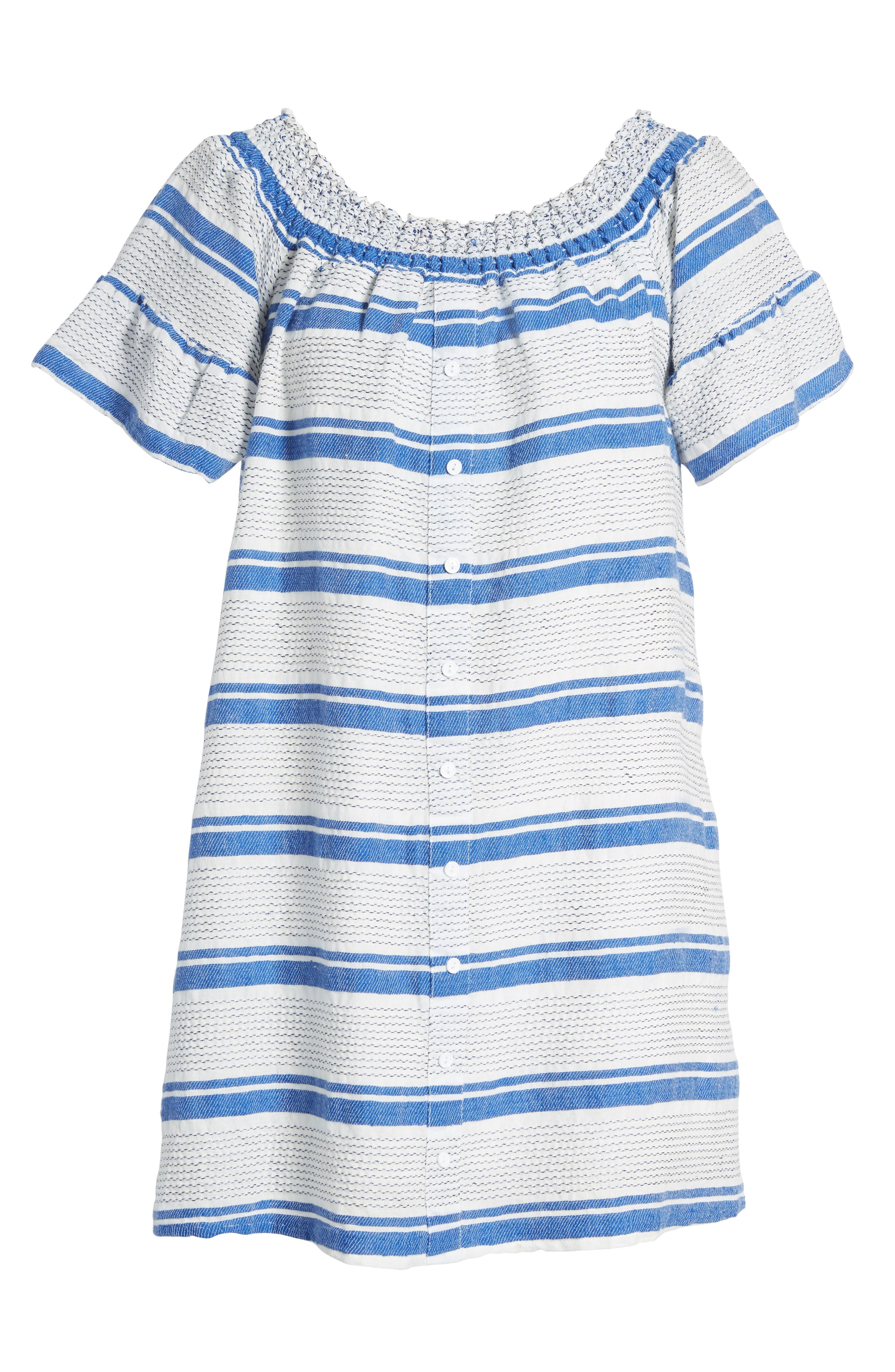 Bora Bora Off the Shoulder Dress,                             Alternate thumbnail 6, color,                             Blue/ White